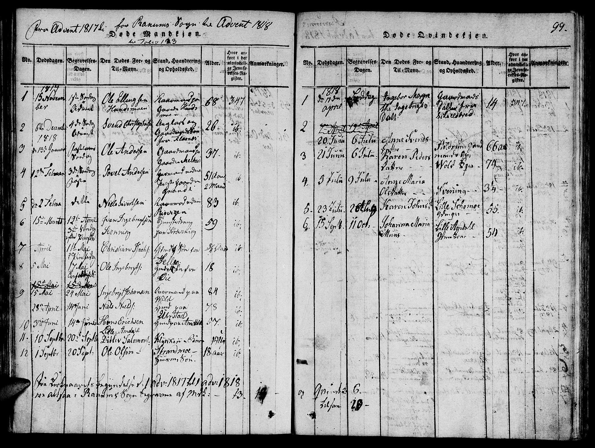 SAT, Ministerialprotokoller, klokkerbøker og fødselsregistre - Nord-Trøndelag, 764/L0546: Ministerialbok nr. 764A06 /1, 1816-1823, s. 99