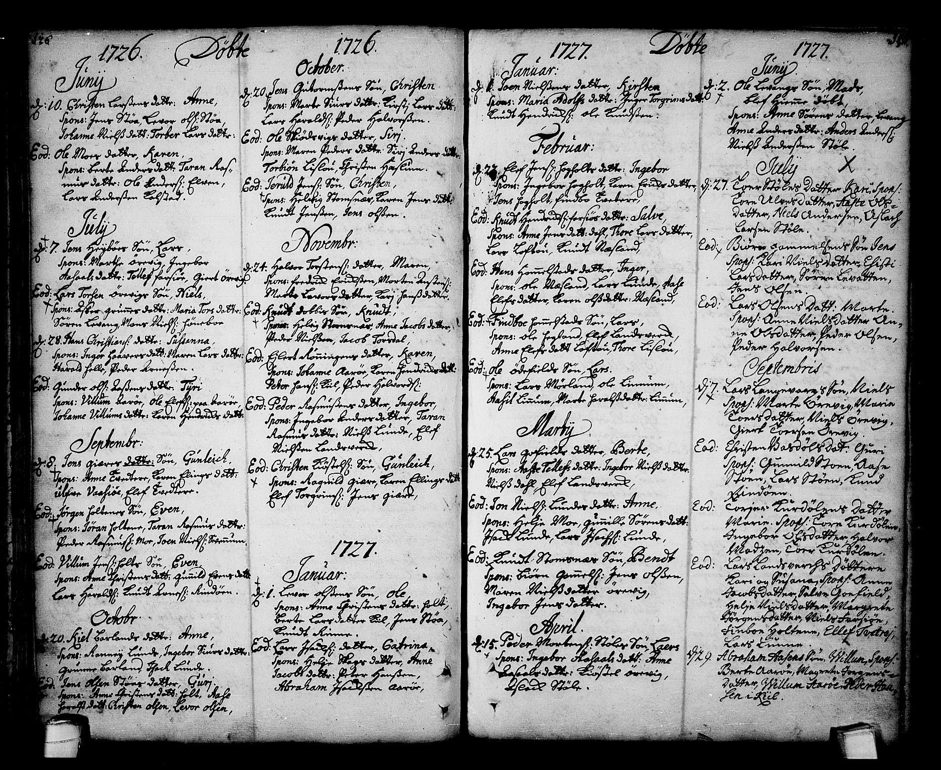 SAKO, Sannidal kirkebøker, F/Fa/L0001: Ministerialbok nr. 1, 1702-1766, s. 126-127