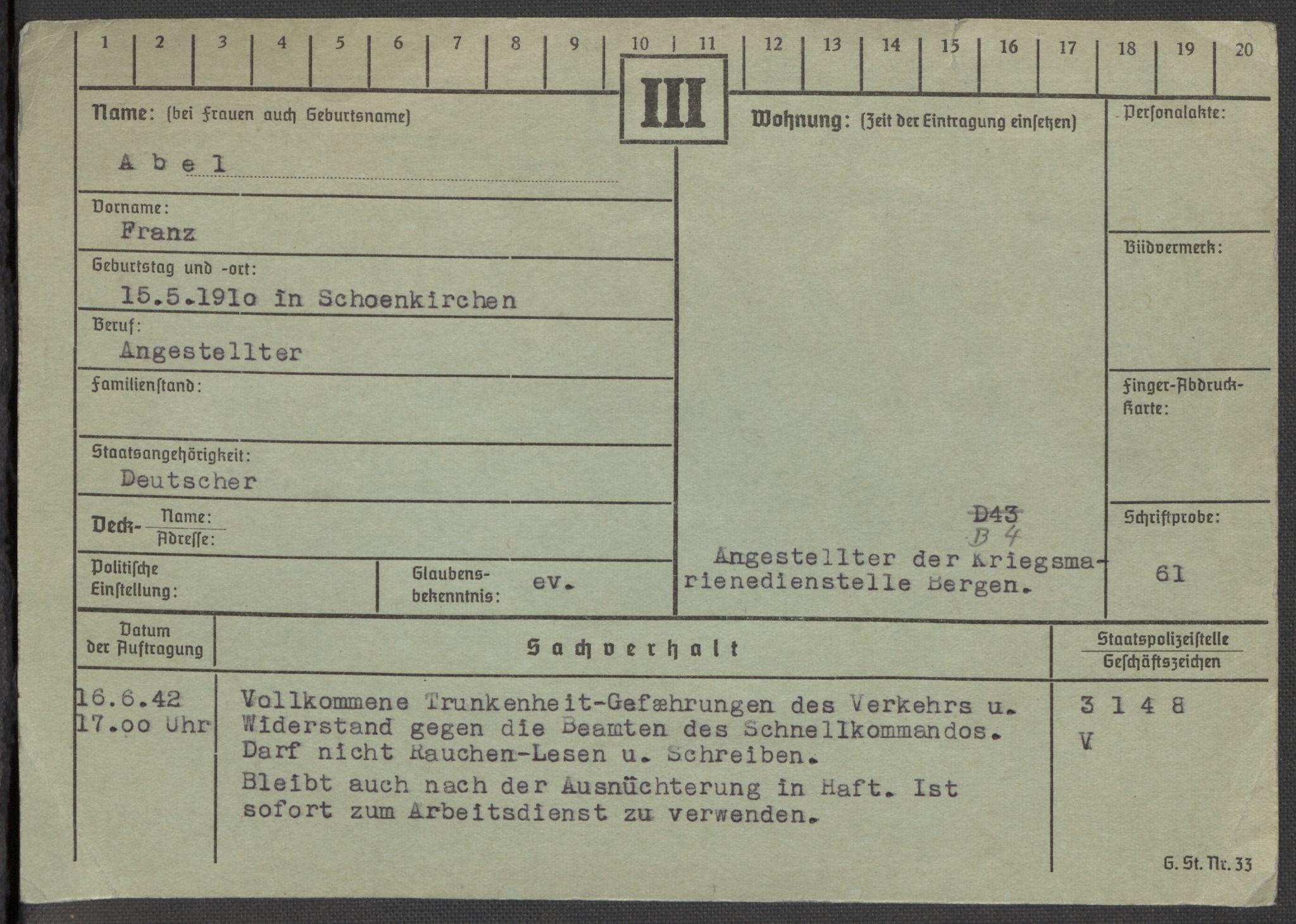 RA, Befehlshaber der Sicherheitspolizei und des SD, E/Ea/Eaa/L0001: Register over norske fanger i Møllergata 19: A-Bj, 1940-1945, s. 2
