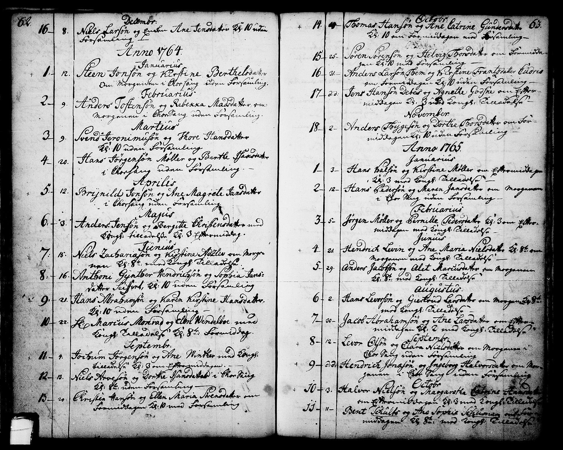SAKO, Skien kirkebøker, F/Fa/L0003: Ministerialbok nr. 3, 1755-1791, s. 62-63