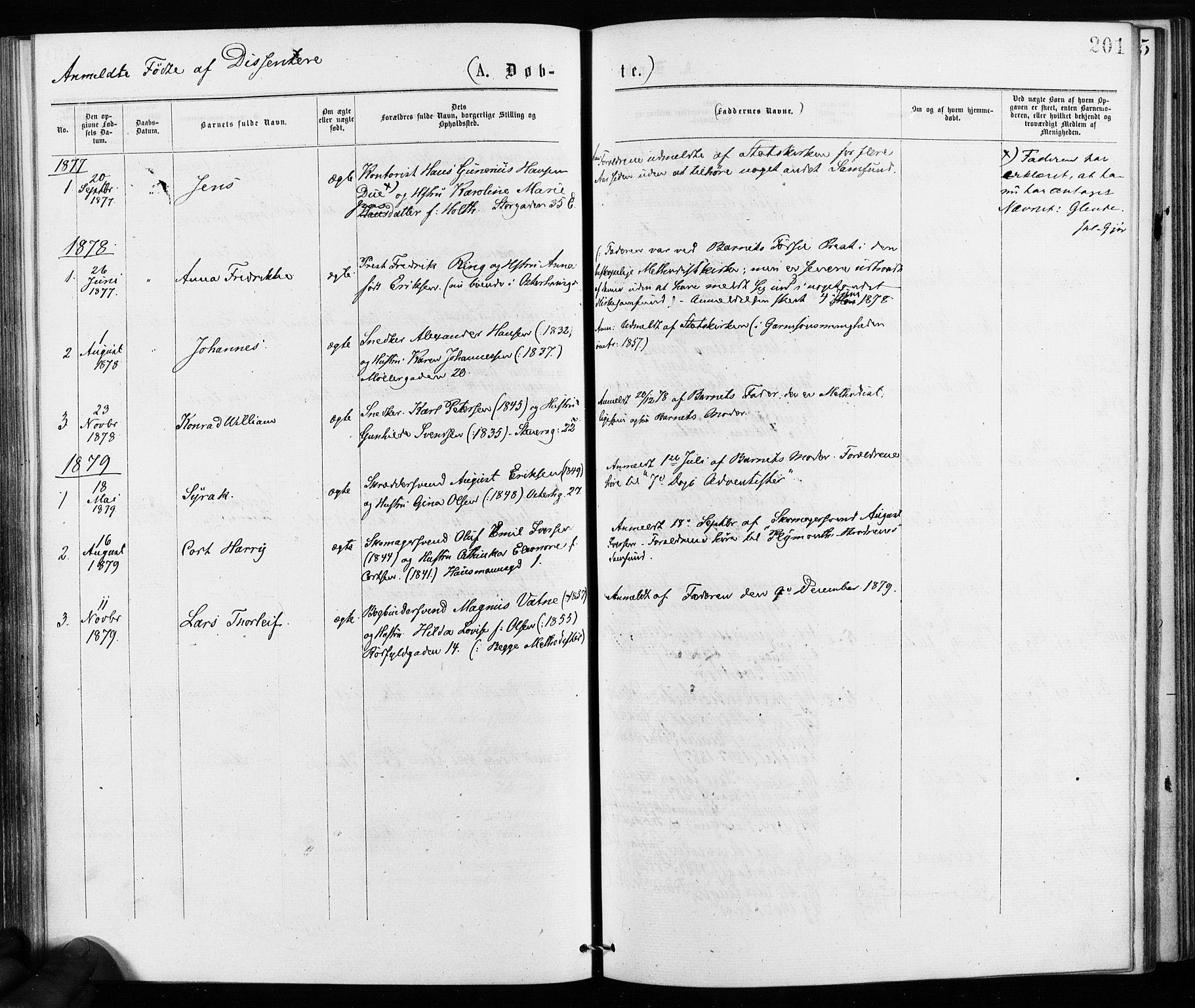 SAO, Jakob prestekontor Kirkebøker, F/Fa/L0001: Ministerialbok nr. 1, 1875-1924, s. 201