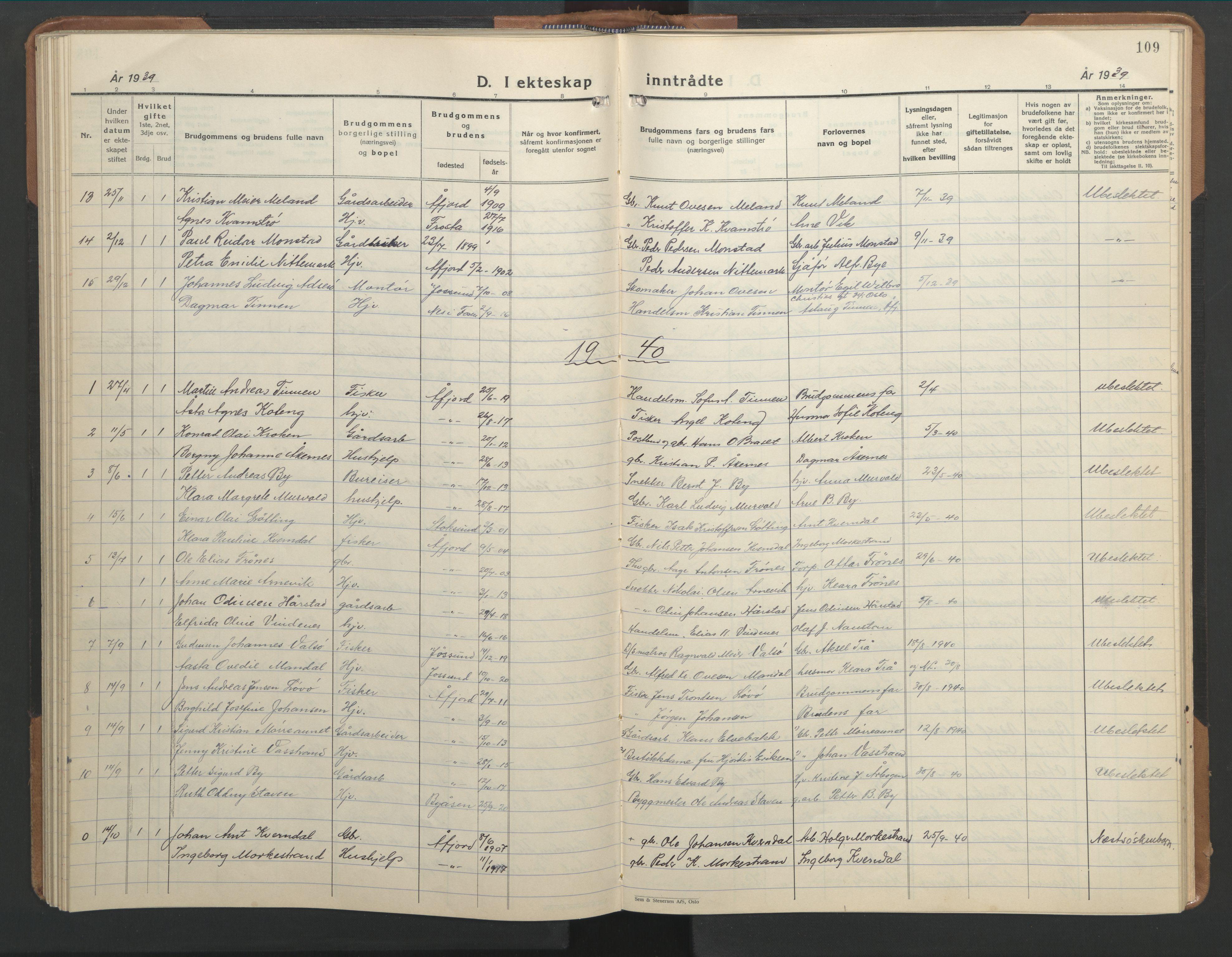 SAT, Ministerialprotokoller, klokkerbøker og fødselsregistre - Sør-Trøndelag, 655/L0690: Klokkerbok nr. 655C06, 1937-1950, s. 109