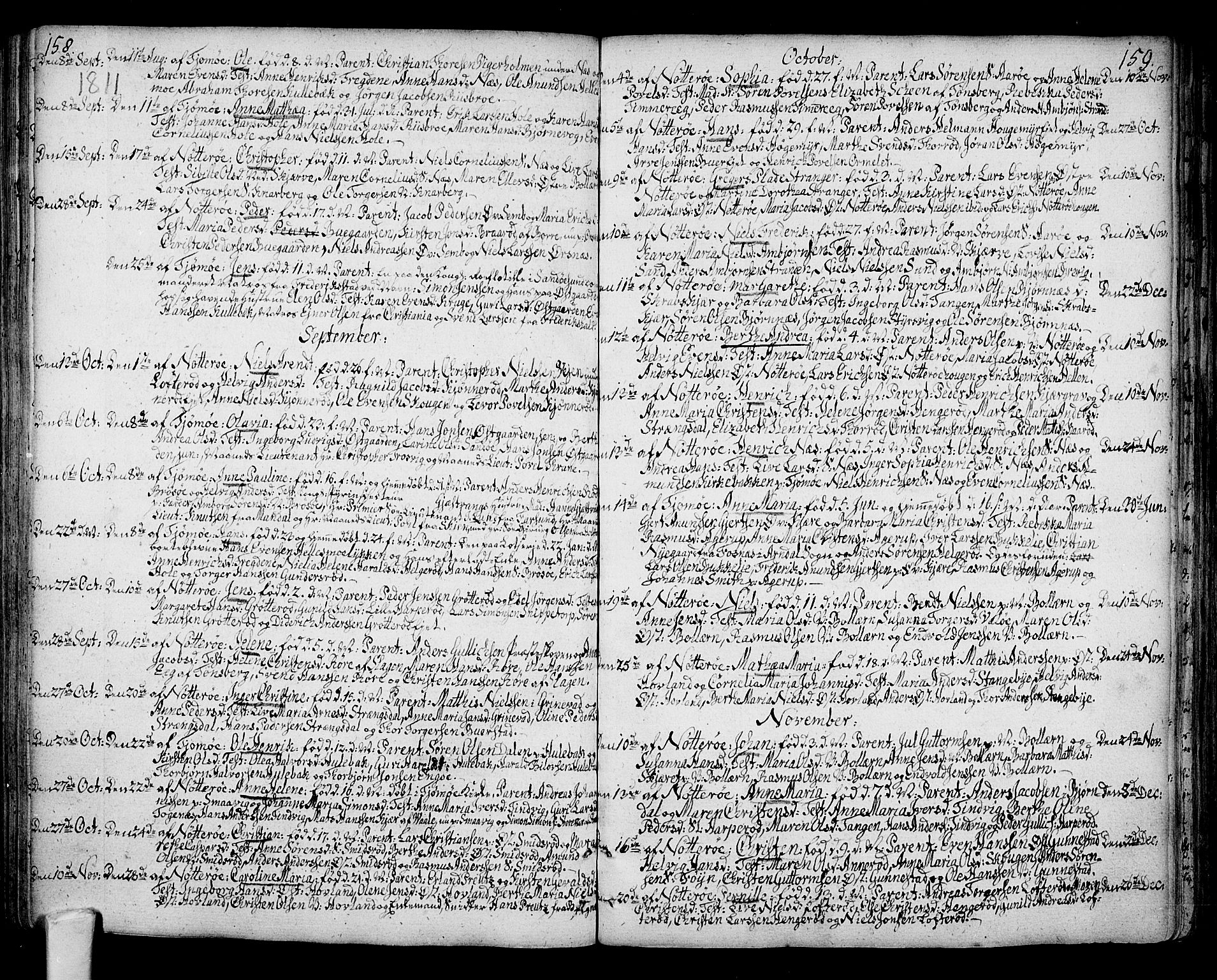 SAKO, Nøtterøy kirkebøker, F/Fa/L0003: Ministerialbok nr. I 3, 1791-1814, s. 158-159
