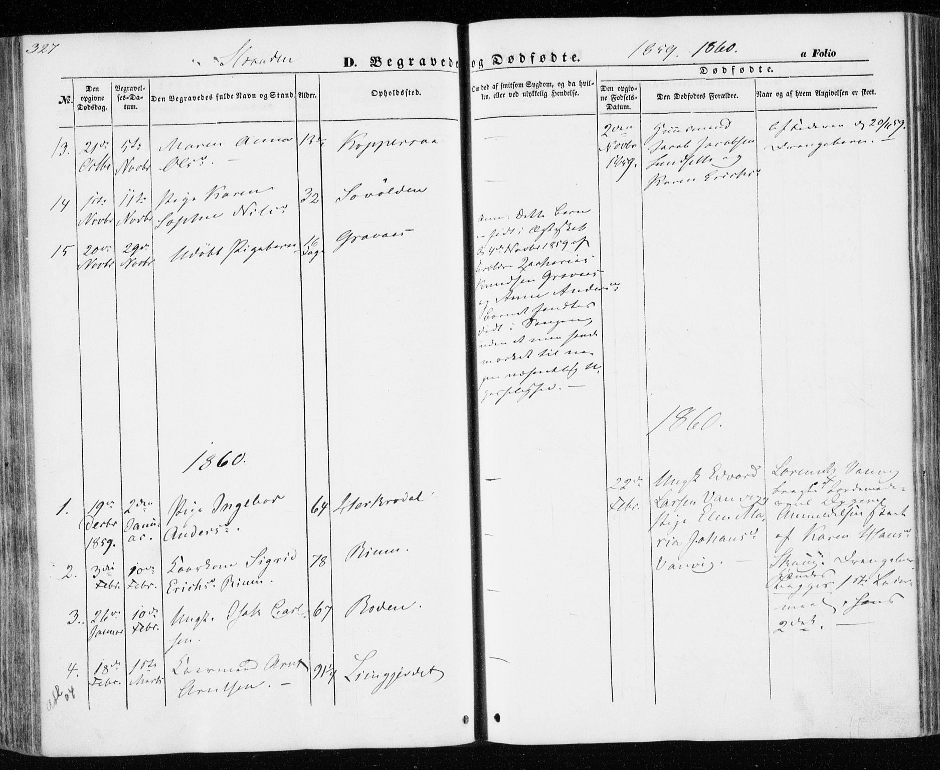 SAT, Ministerialprotokoller, klokkerbøker og fødselsregistre - Nord-Trøndelag, 701/L0008: Ministerialbok nr. 701A08 /2, 1854-1863, s. 327