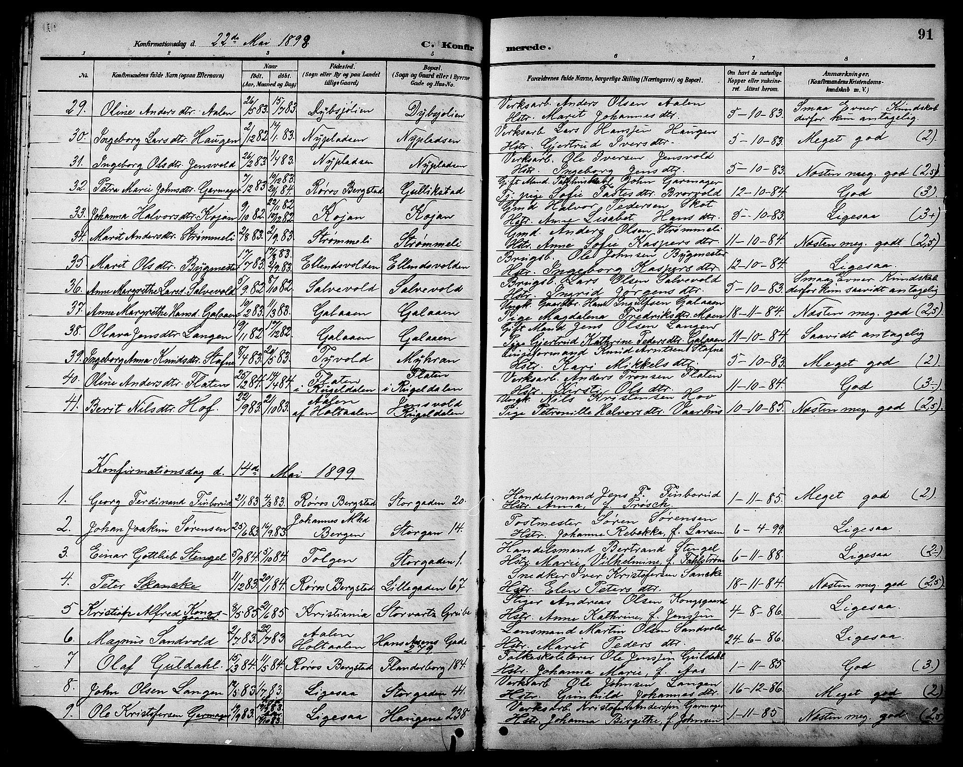 SAT, Ministerialprotokoller, klokkerbøker og fødselsregistre - Sør-Trøndelag, 681/L0941: Klokkerbok nr. 681C05, 1896-1905, s. 91