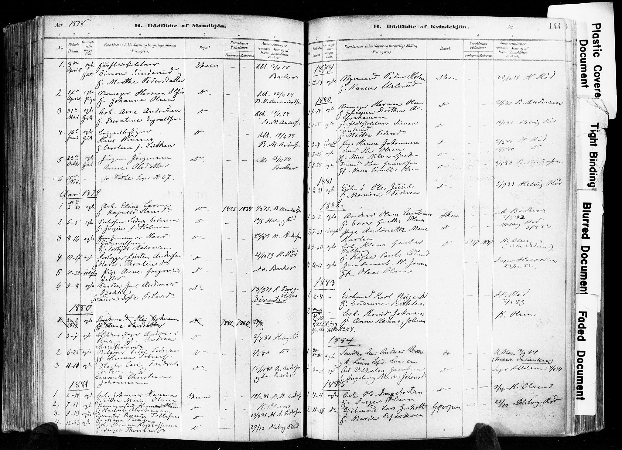 SAKO, Skien kirkebøker, F/Fa/L0009: Ministerialbok nr. 9, 1878-1890, s. 144