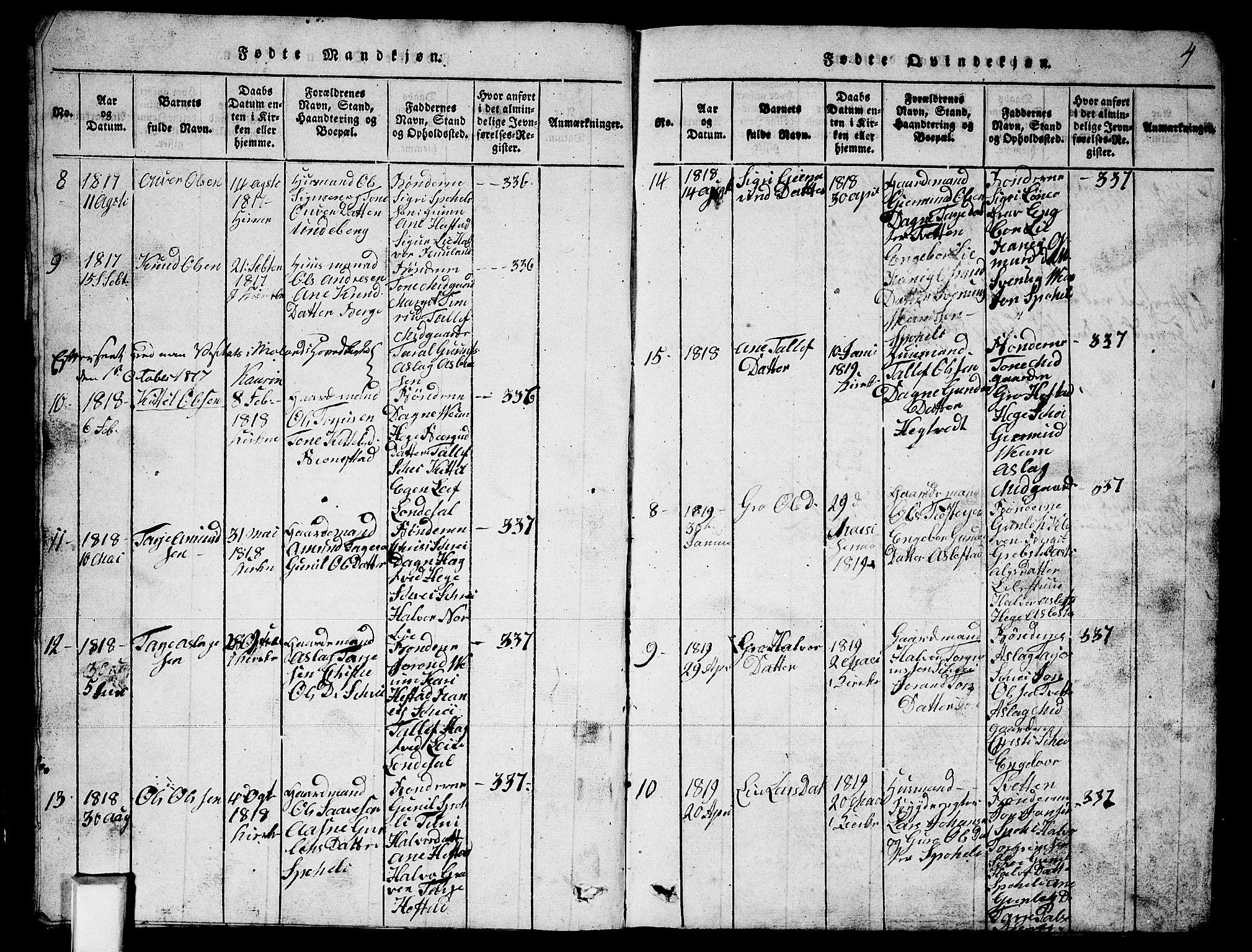SAKO, Fyresdal kirkebøker, G/Ga/L0003: Klokkerbok nr. I 3, 1815-1863, s. 4