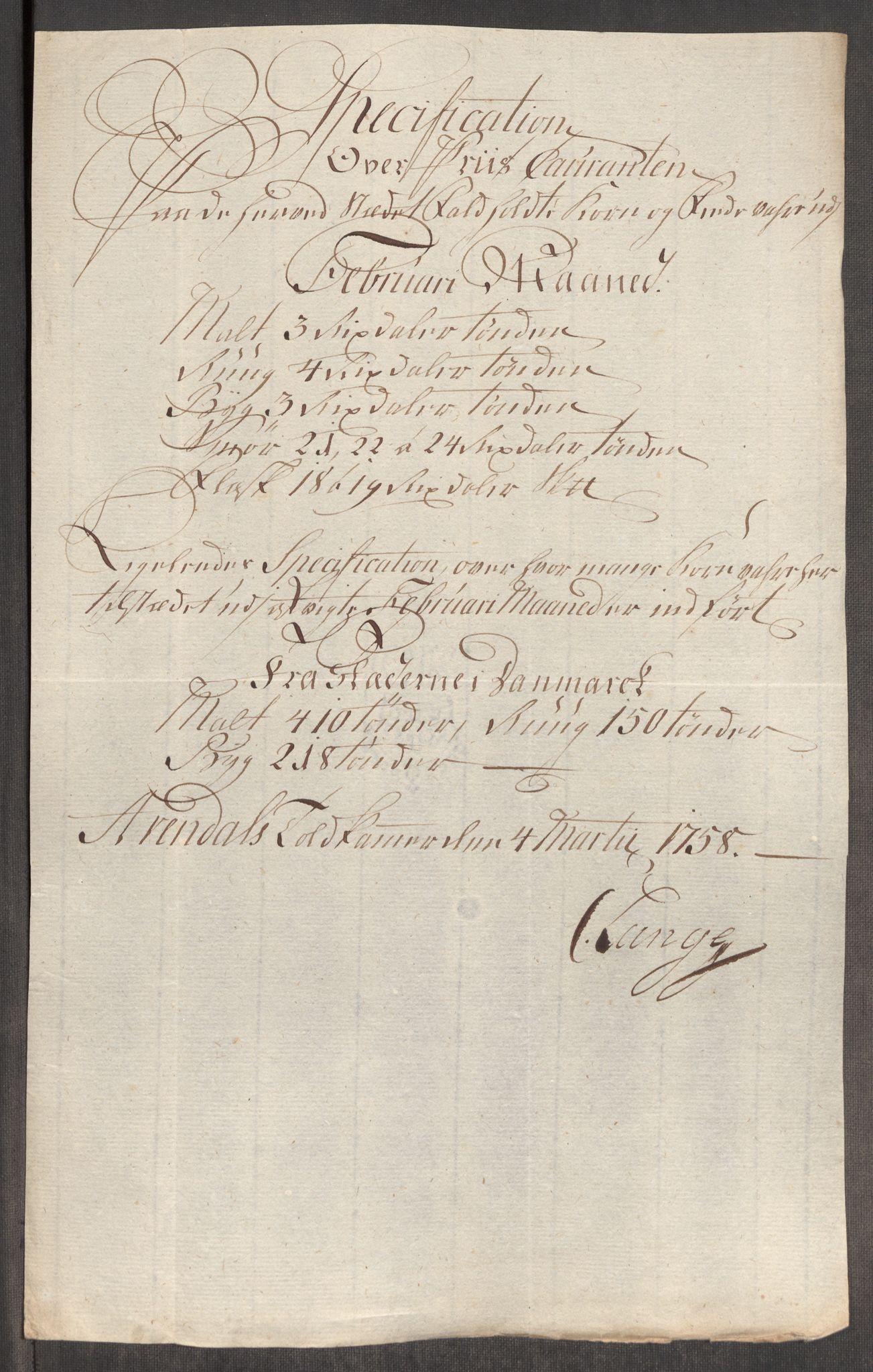 RA, Rentekammeret inntil 1814, Realistisk ordnet avdeling, Oe/L0006: [Ø1]: Priskuranter, 1758-1760, s. 255