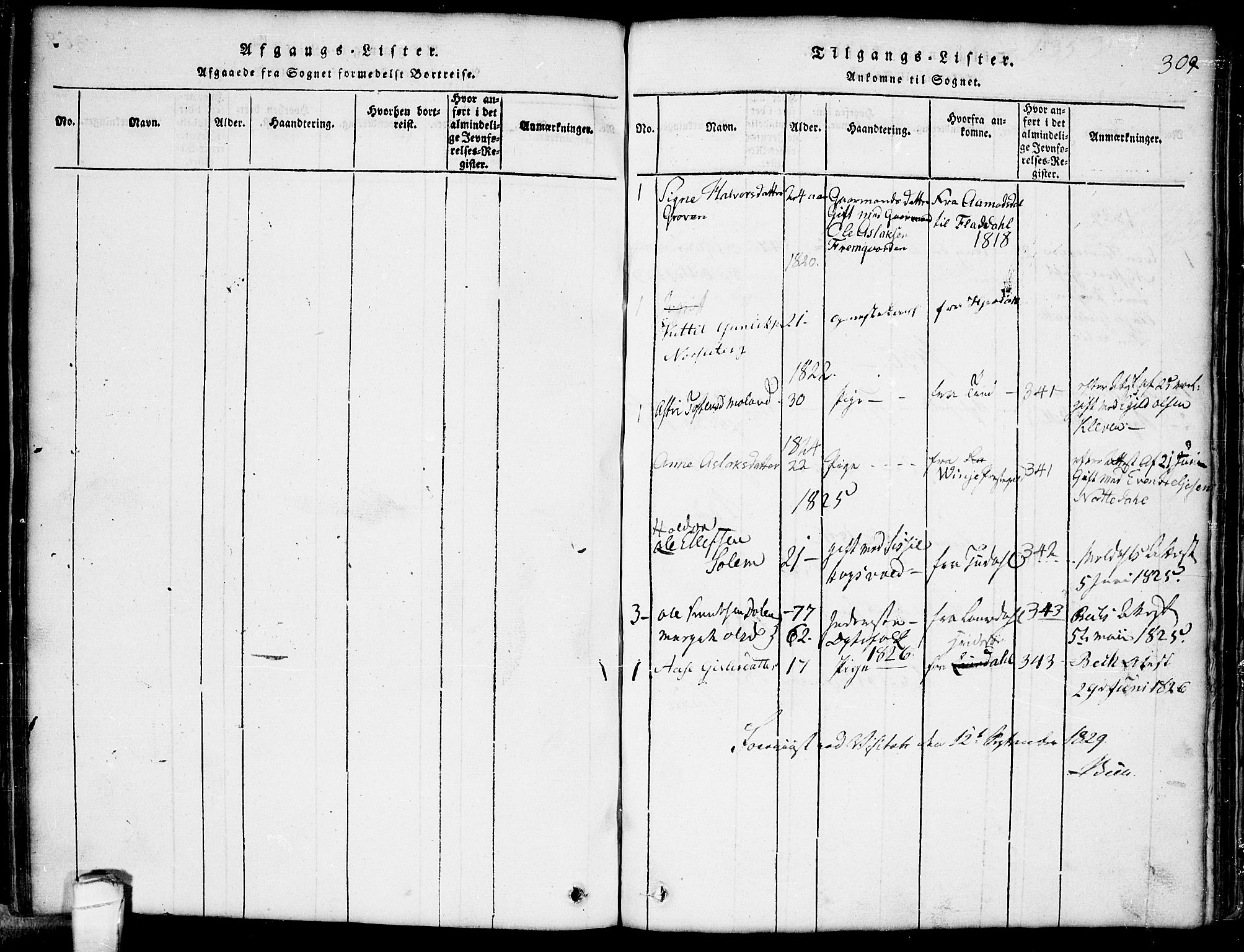 SAKO, Seljord kirkebøker, G/Gb/L0002: Klokkerbok nr. II 2, 1815-1854, s. 309