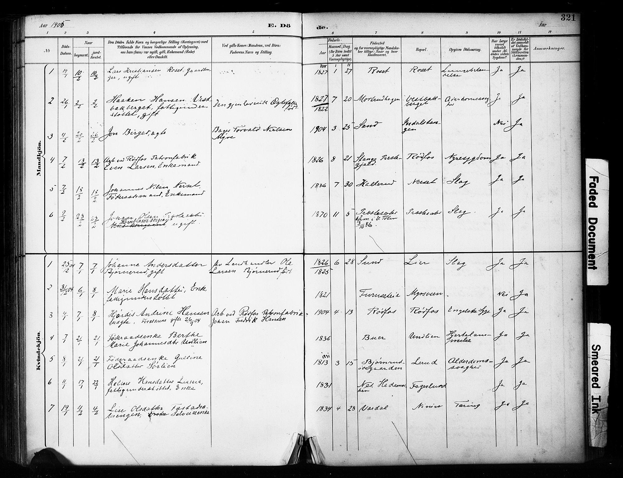 SAH, Vestre Toten prestekontor, H/Ha/Haa/L0011: Ministerialbok nr. 11, 1895-1906, s. 321