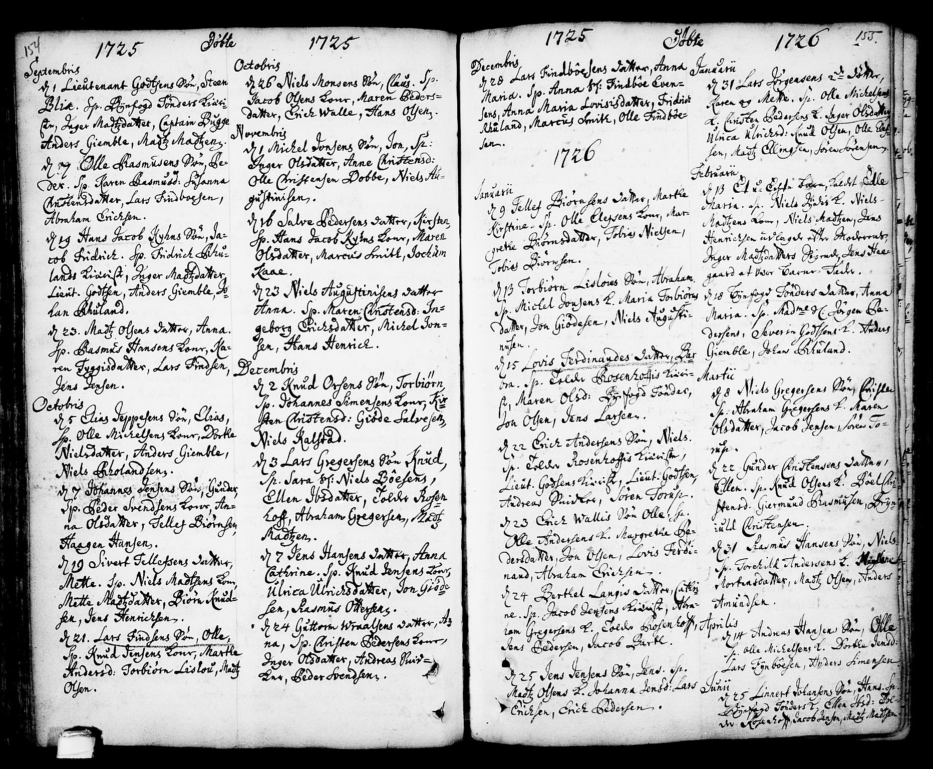 SAKO, Kragerø kirkebøker, F/Fa/L0001: Ministerialbok nr. 1, 1702-1766, s. 154-155