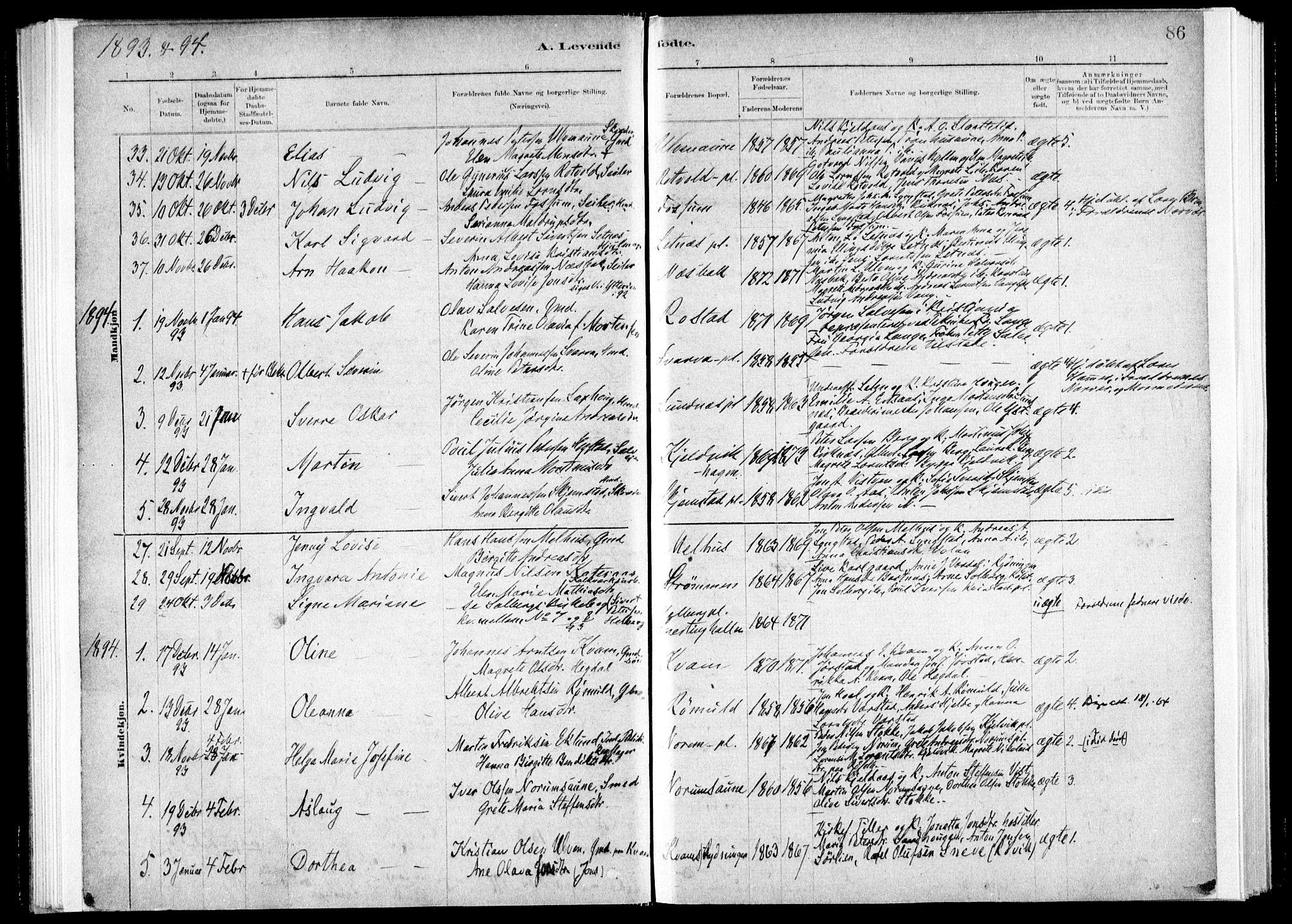 SAT, Ministerialprotokoller, klokkerbøker og fødselsregistre - Nord-Trøndelag, 730/L0285: Ministerialbok nr. 730A10, 1879-1914, s. 86