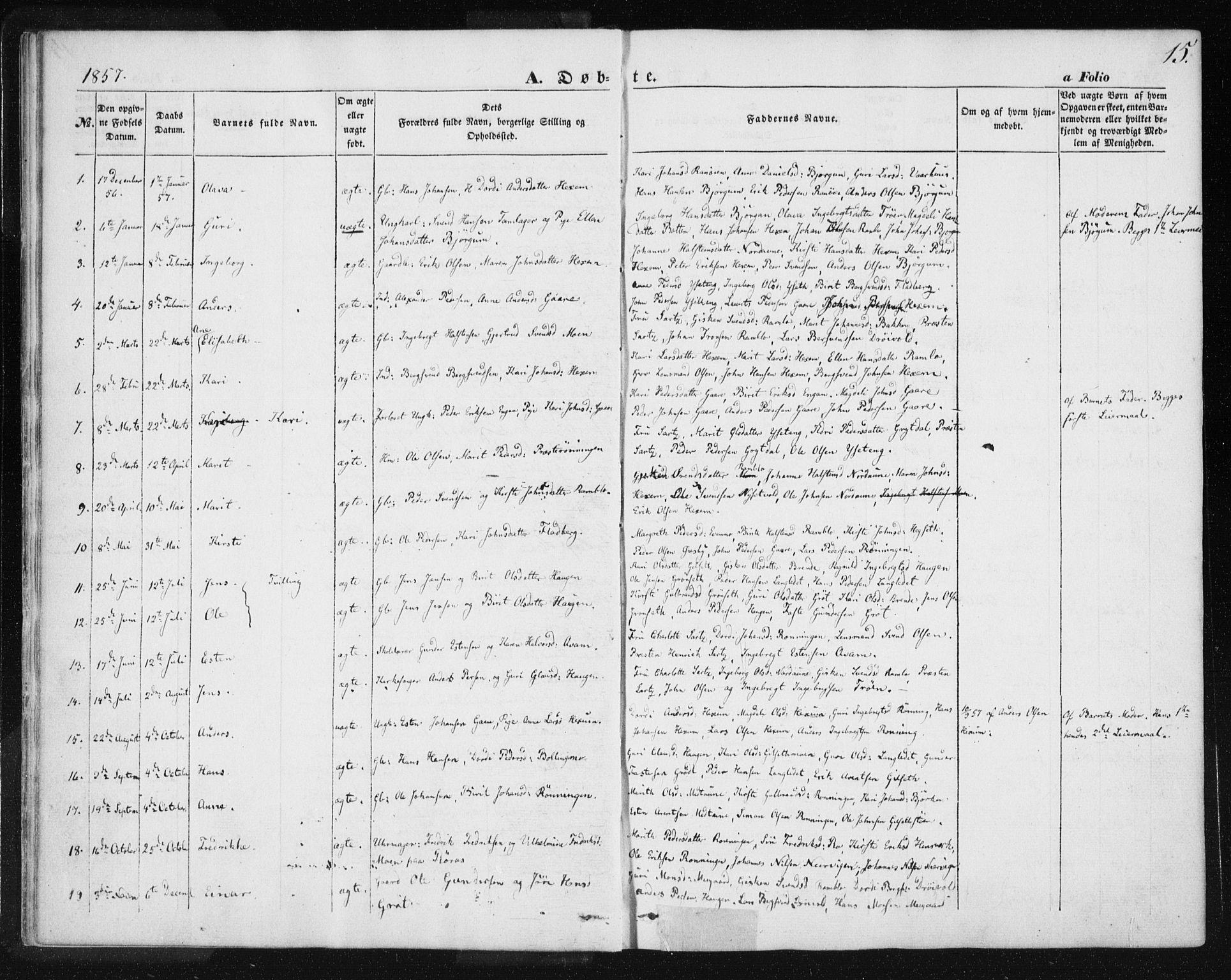 SAT, Ministerialprotokoller, klokkerbøker og fødselsregistre - Sør-Trøndelag, 685/L0963: Ministerialbok nr. 685A06 /1, 1846-1859, s. 15