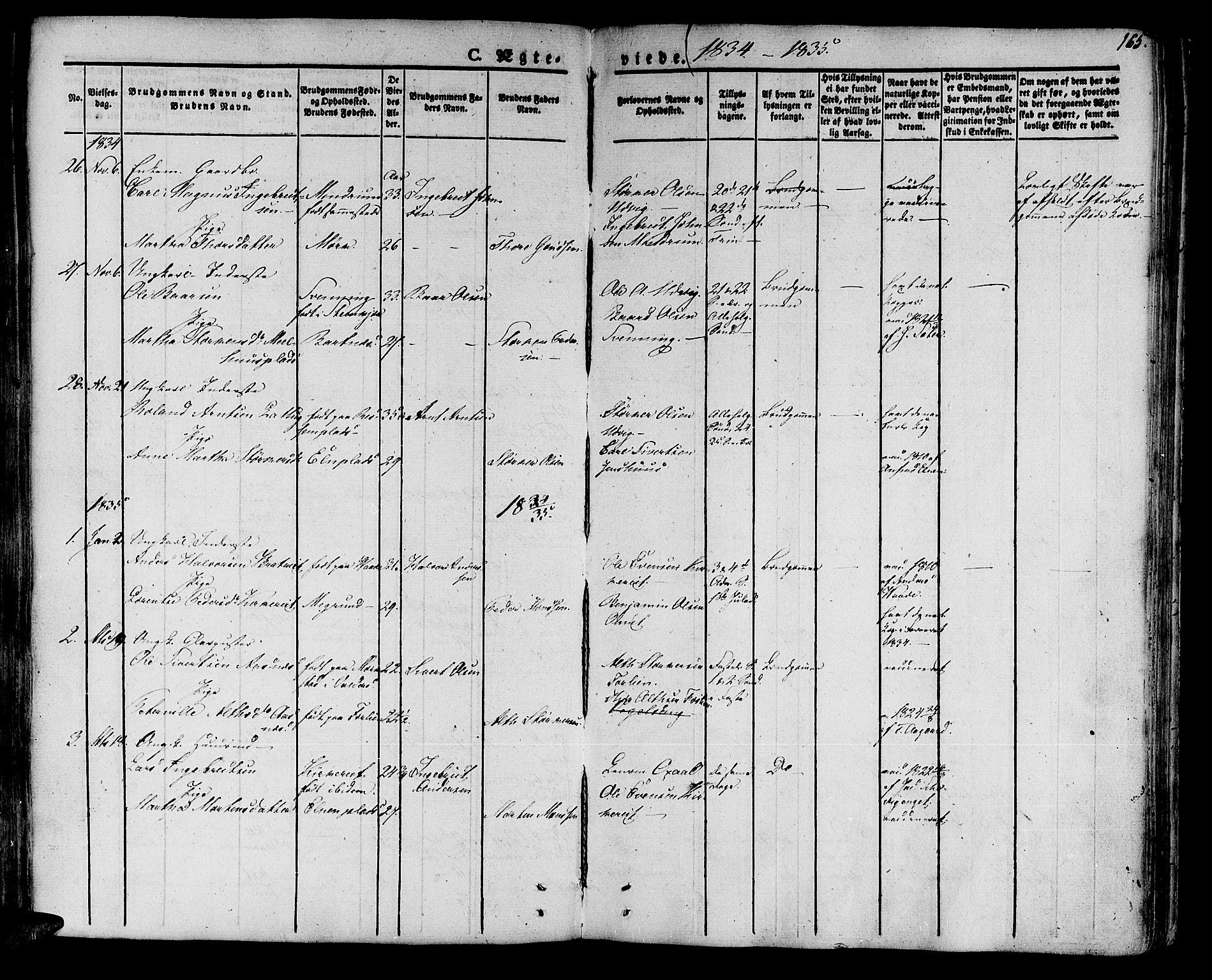 SAT, Ministerialprotokoller, klokkerbøker og fødselsregistre - Nord-Trøndelag, 741/L0390: Ministerialbok nr. 741A04, 1822-1836, s. 165