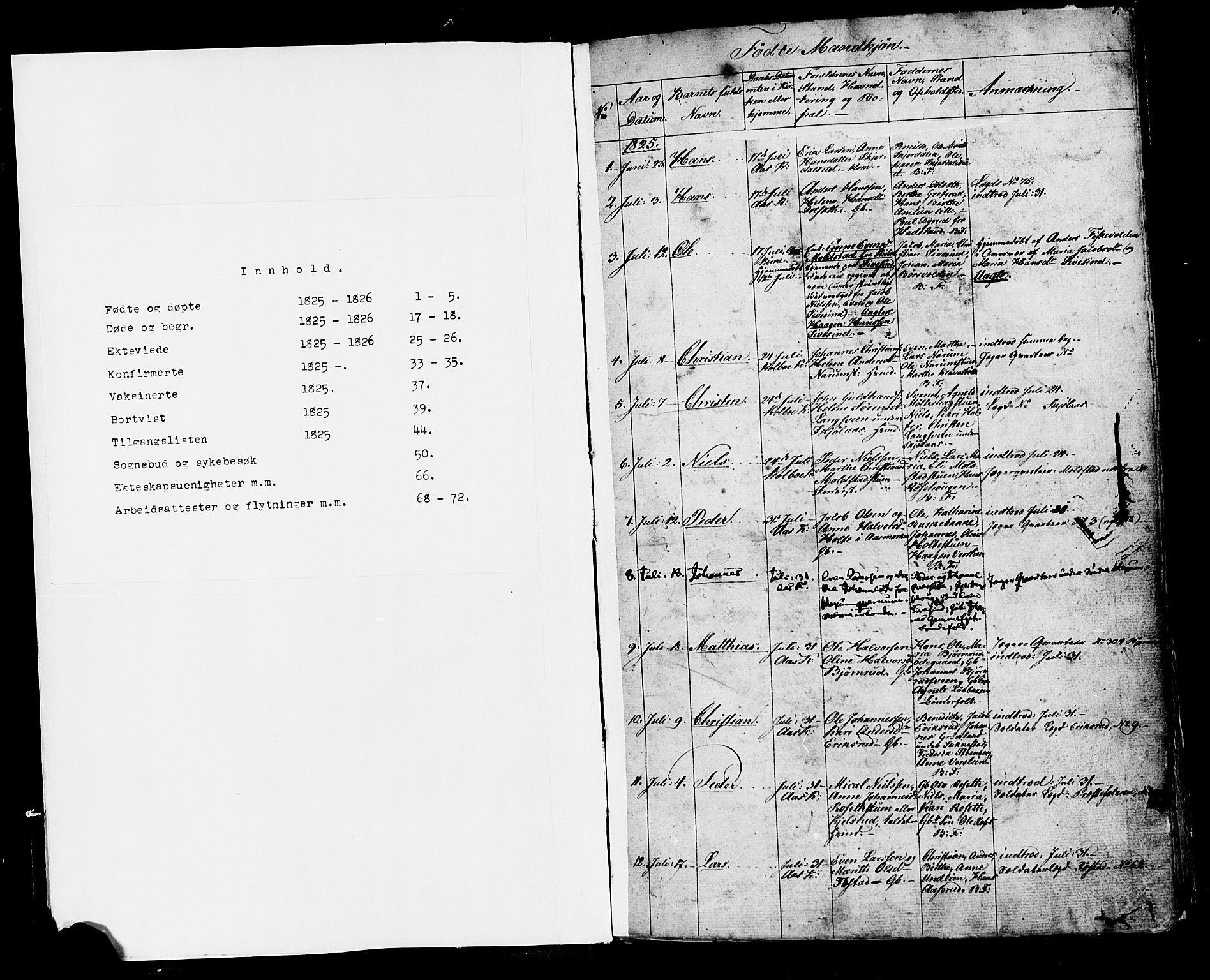 SAH, Vestre Toten prestekontor, H/Ha/Haa/L0001: Ministerialbok nr. 1, 1825-1826, s. 1