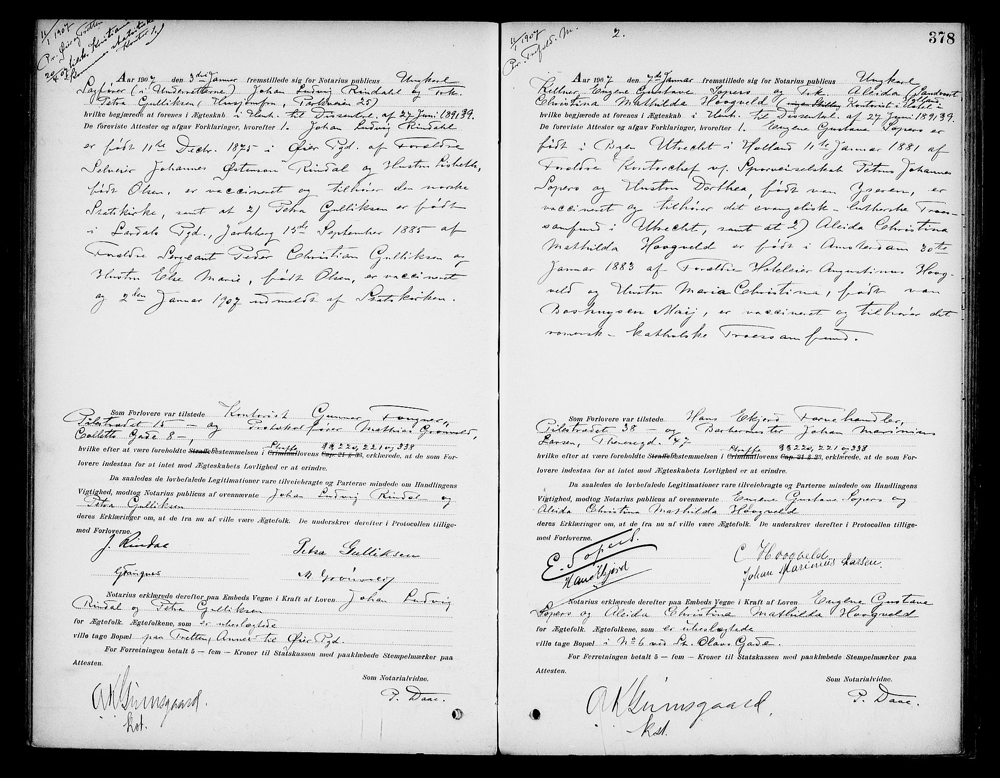 SAO, Oslo byfogd avd. I, L/Lb/Lbb/L0006: Notarialprotokoll, rekke II: Vigsler, 1902-1907, s. 377b-378a