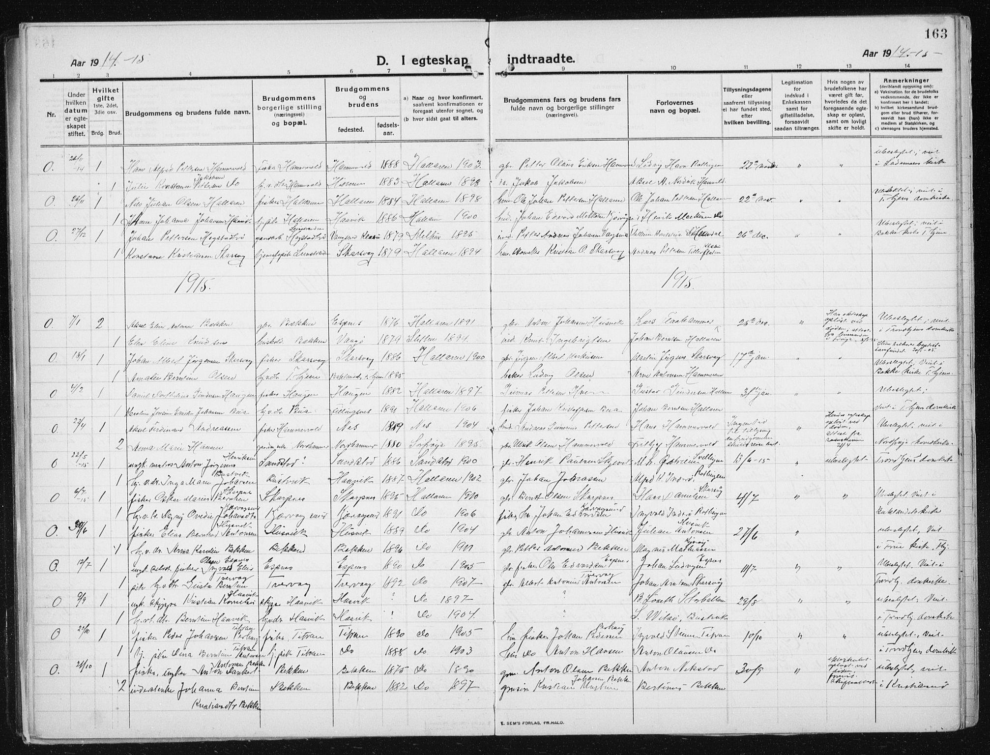 SAT, Ministerialprotokoller, klokkerbøker og fødselsregistre - Sør-Trøndelag, 641/L0599: Klokkerbok nr. 641C03, 1910-1938, s. 163