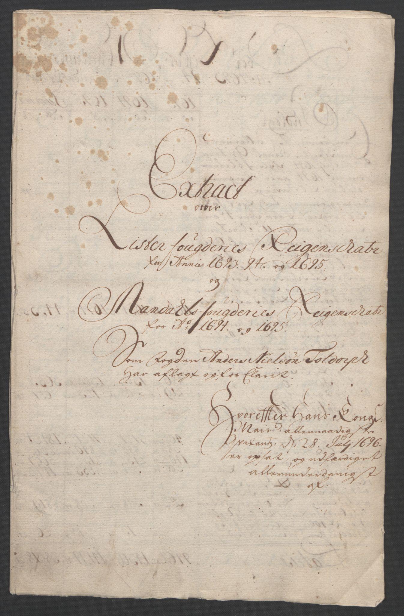 RA, Rentekammeret inntil 1814, Reviderte regnskaper, Fogderegnskap, R43/L2545: Fogderegnskap Lista og Mandal, 1694-1695, s. 24