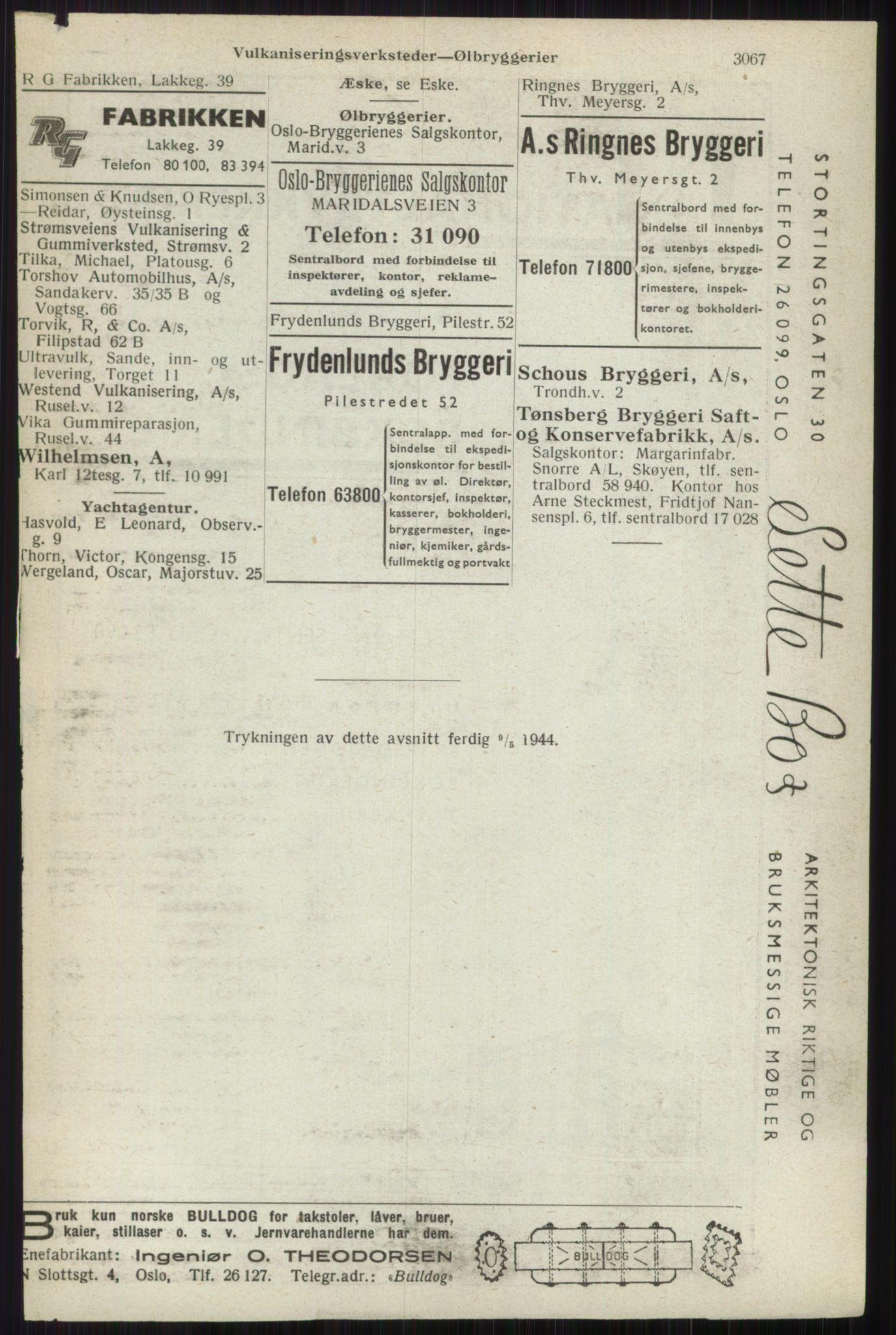 RA, Oslo adressebok (publikasjon)*, 1944, s. 3067