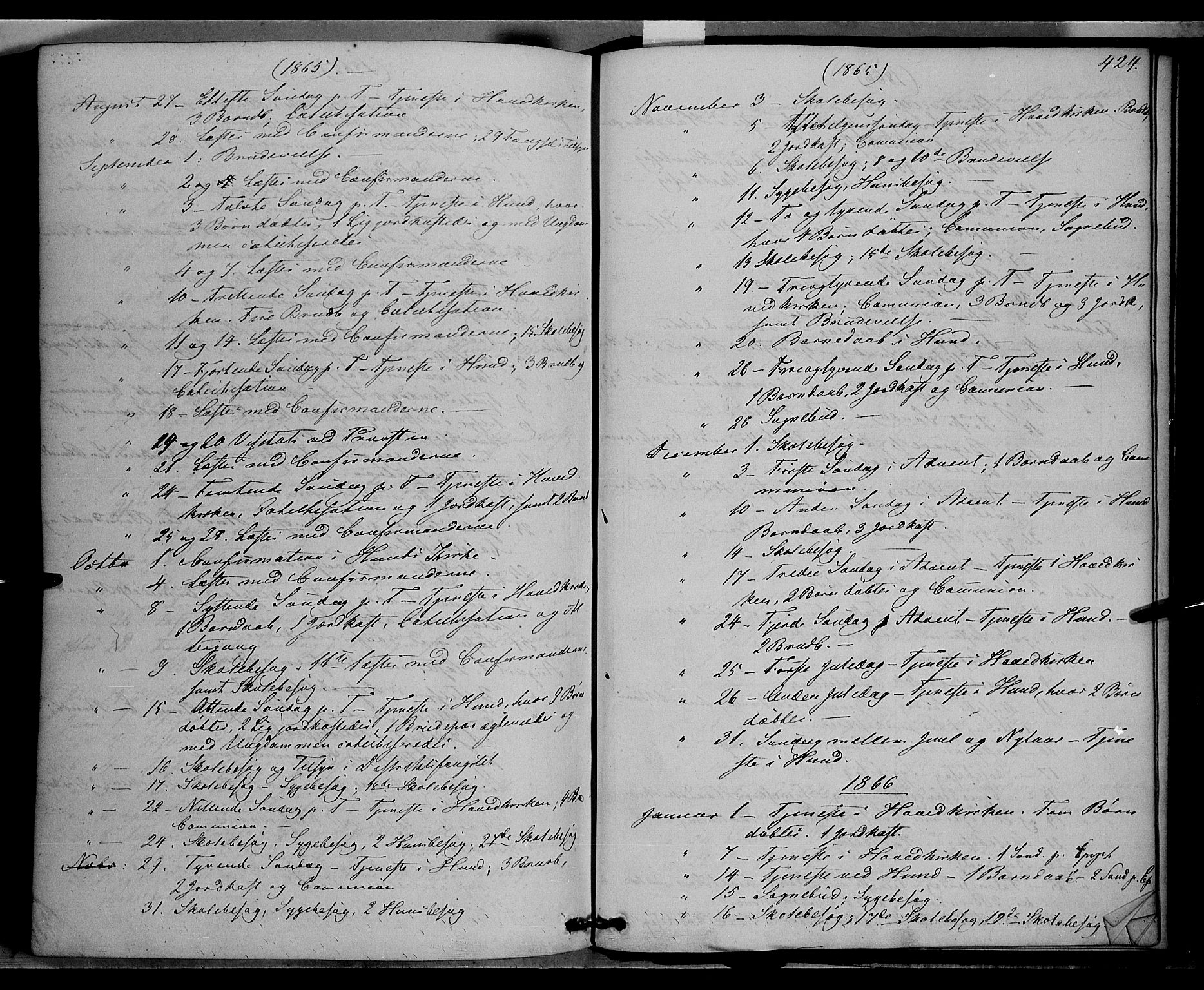 SAH, Vardal prestekontor, H/Ha/Haa/L0006: Ministerialbok nr. 6, 1854-1866, s. 424