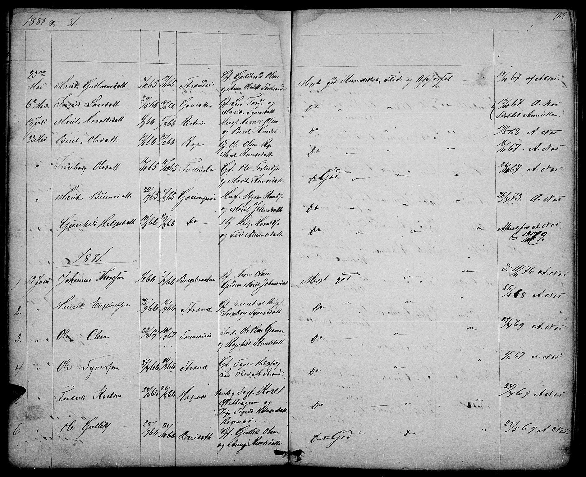 SAH, Nord-Aurdal prestekontor, Klokkerbok nr. 3, 1842-1882, s. 165