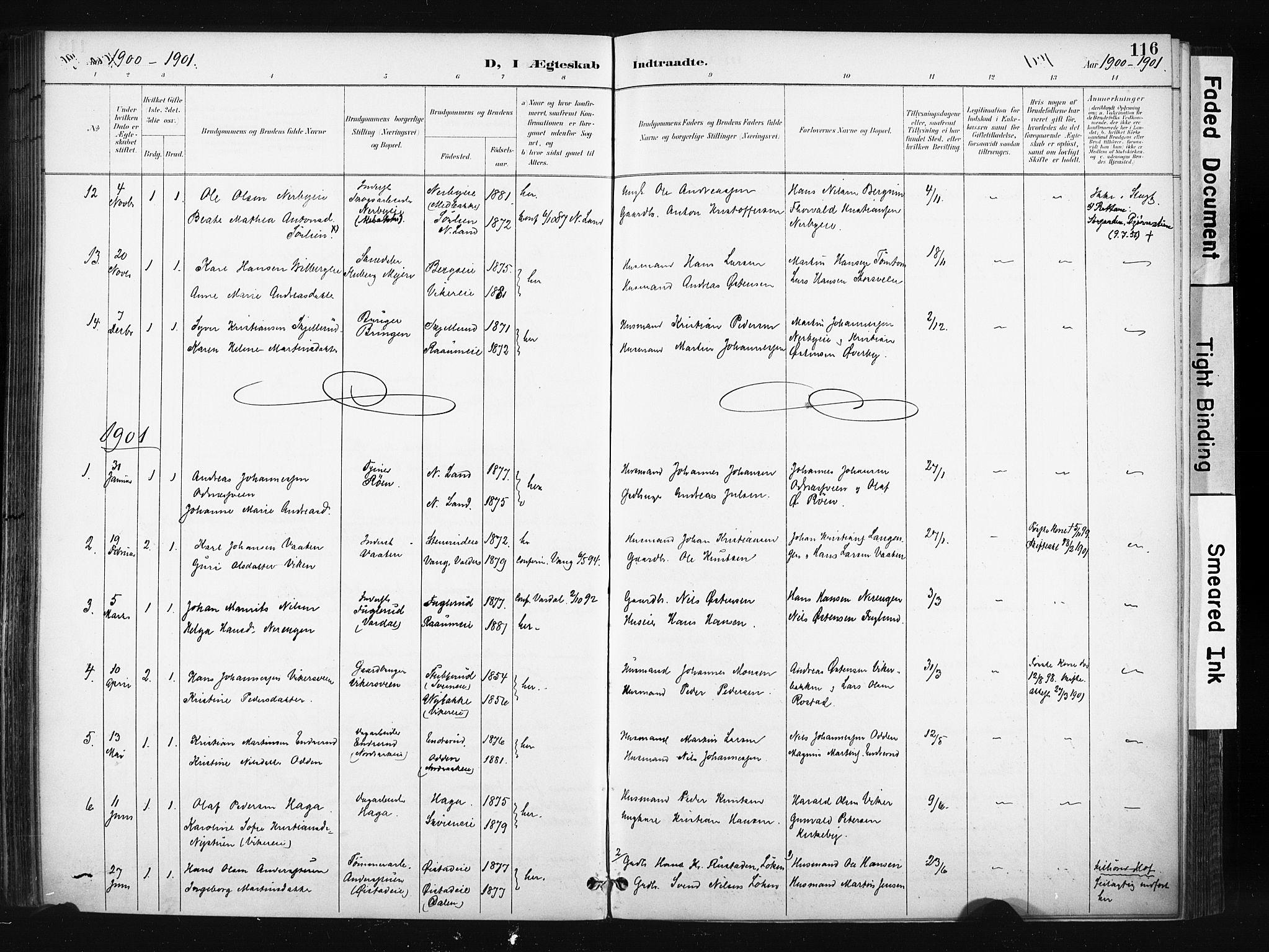 SAH, Søndre Land prestekontor, K/L0004: Ministerialbok nr. 4, 1895-1904, s. 116