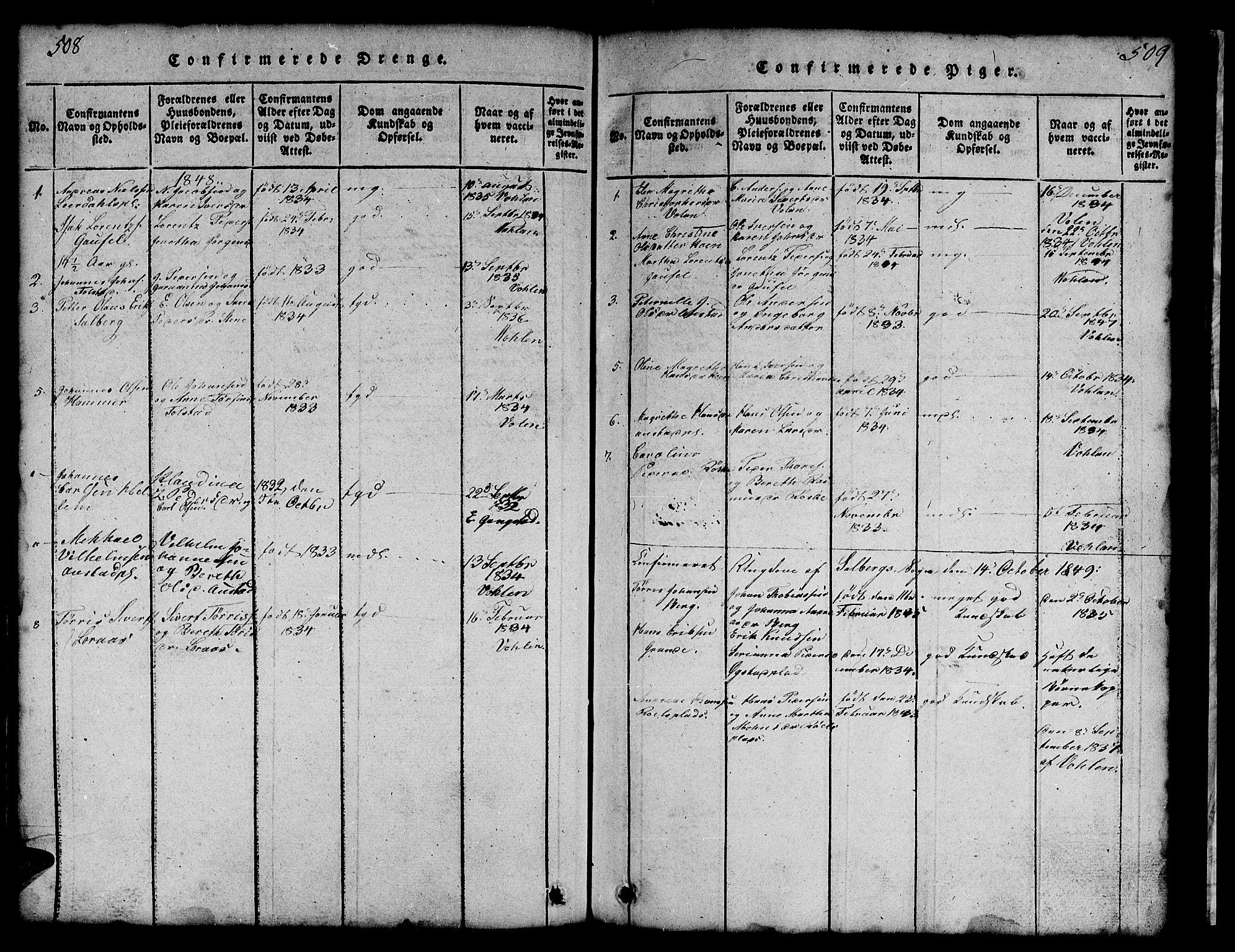 SAT, Ministerialprotokoller, klokkerbøker og fødselsregistre - Nord-Trøndelag, 731/L0310: Klokkerbok nr. 731C01, 1816-1874, s. 508-509