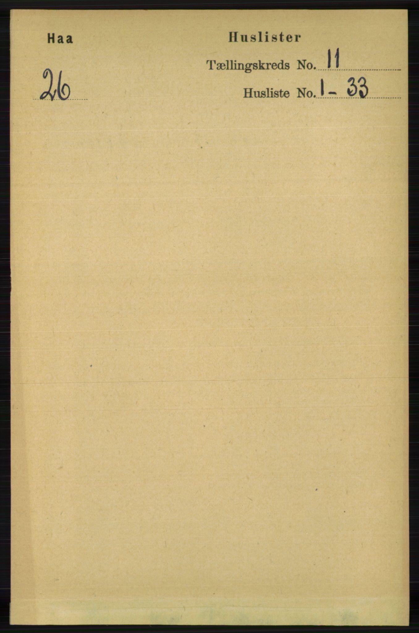 RA, Folketelling 1891 for 1119 Hå herred, 1891, s. 2593