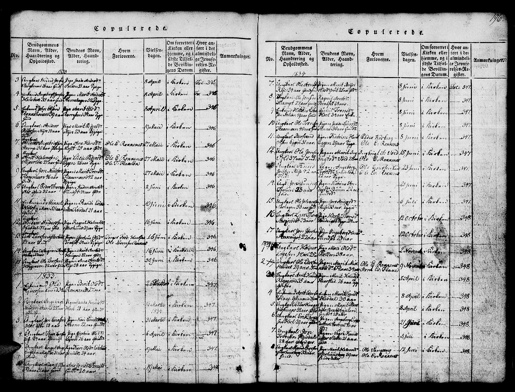 SAT, Ministerialprotokoller, klokkerbøker og fødselsregistre - Sør-Trøndelag, 674/L0874: Klokkerbok nr. 674C01, 1816-1860, s. 196