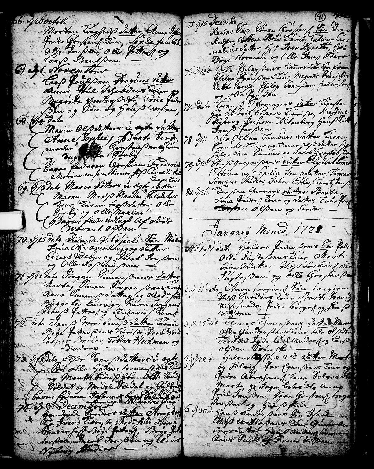 SAKO, Skien kirkebøker, F/Fa/L0002: Ministerialbok nr. 2, 1716-1757, s. 91