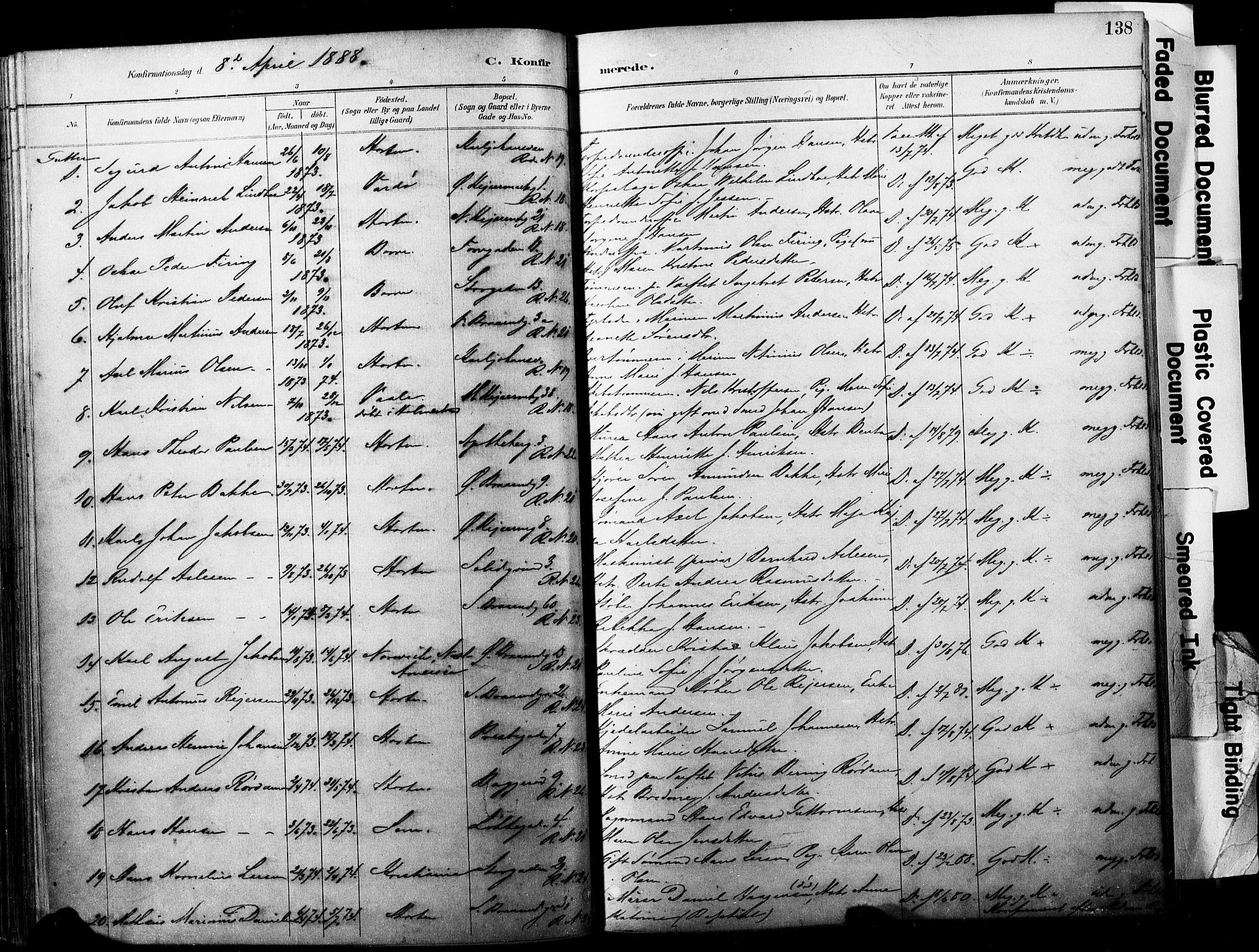 SAKO, Horten kirkebøker, F/Fa/L0004: Ministerialbok nr. 4, 1888-1895, s. 138