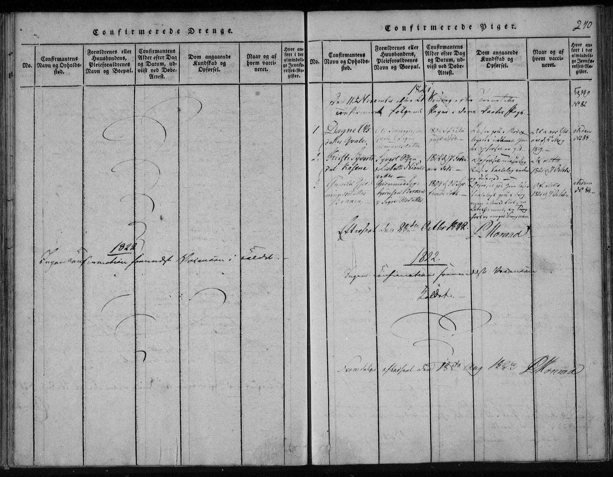 SAKO, Lårdal kirkebøker, F/Fa/L0005: Ministerialbok nr. I 5, 1815-1860, s. 240