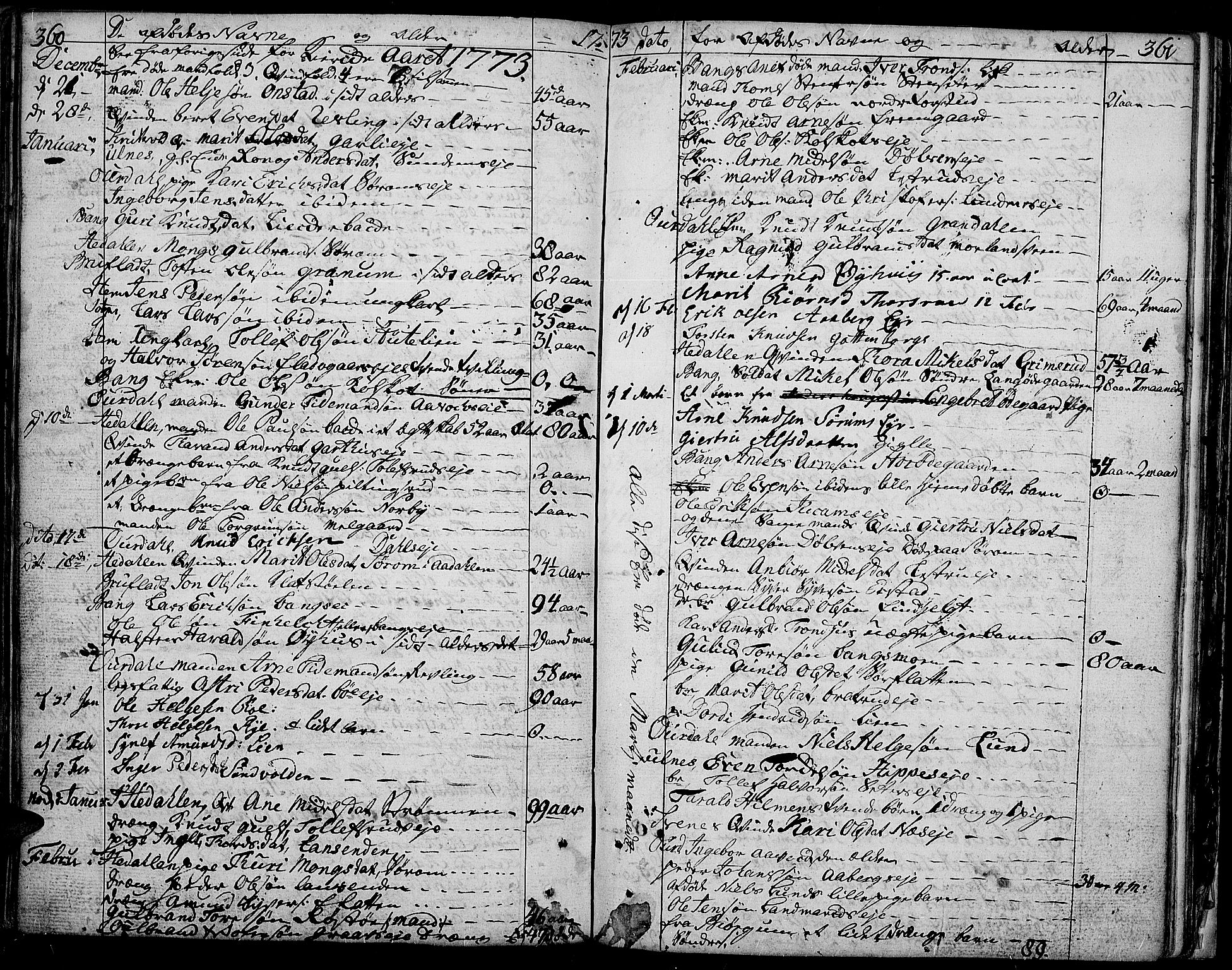 SAH, Aurdal prestekontor, Ministerialbok nr. 5, 1763-1781, s. 360-361