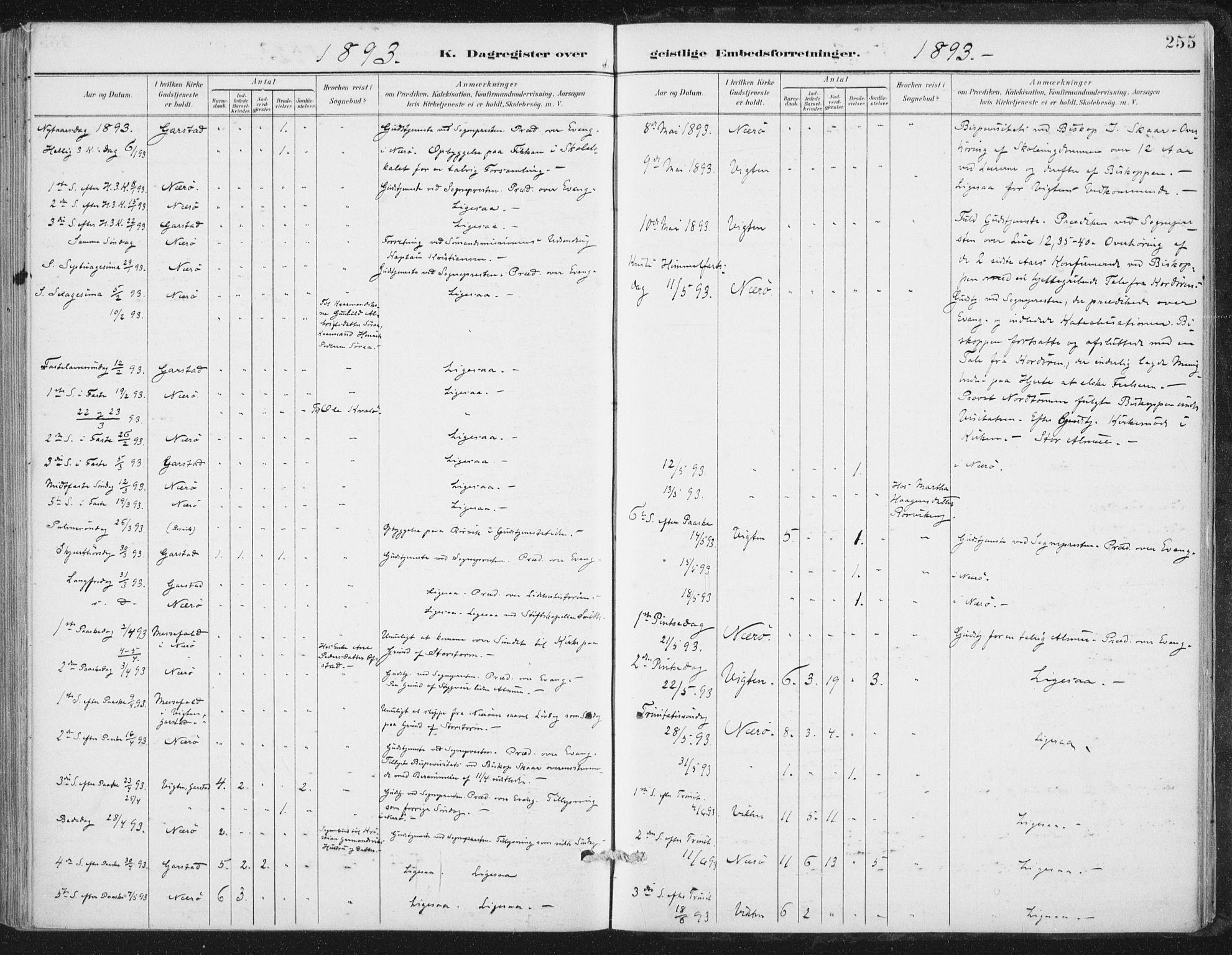 SAT, Ministerialprotokoller, klokkerbøker og fødselsregistre - Nord-Trøndelag, 784/L0673: Ministerialbok nr. 784A08, 1888-1899, s. 255