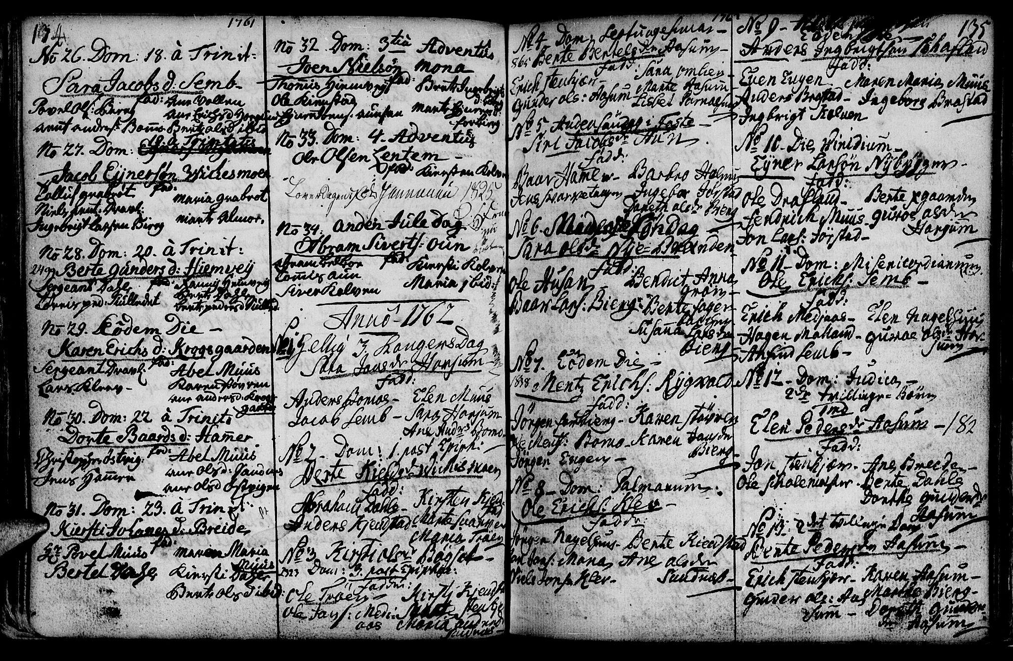 SAT, Ministerialprotokoller, klokkerbøker og fødselsregistre - Nord-Trøndelag, 749/L0467: Ministerialbok nr. 749A01, 1733-1787, s. 134-135