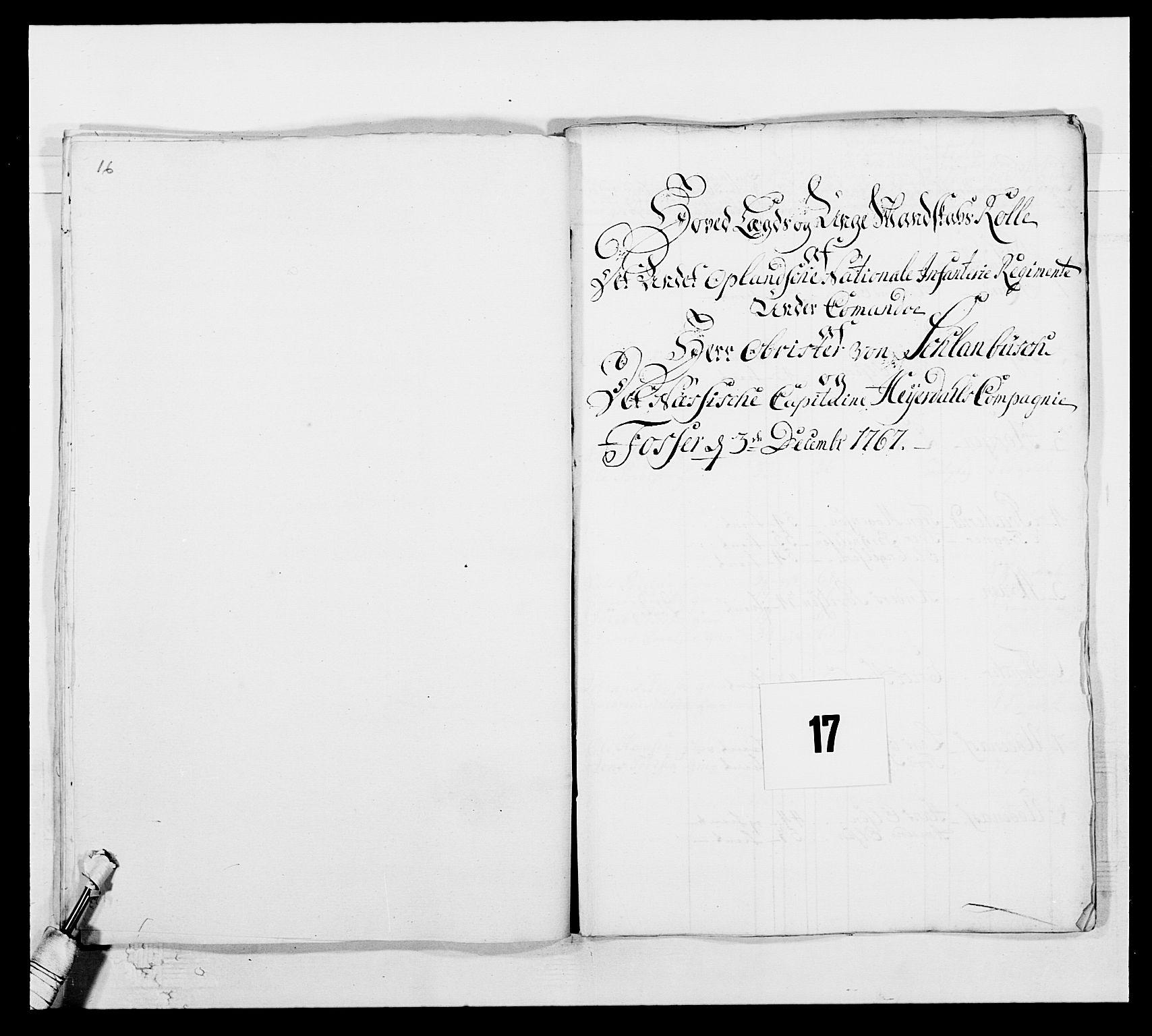 RA, Kommanderende general (KG I) med Det norske krigsdirektorium, E/Ea/L0507: 2. Opplandske regiment, 1766-1767, s. 372