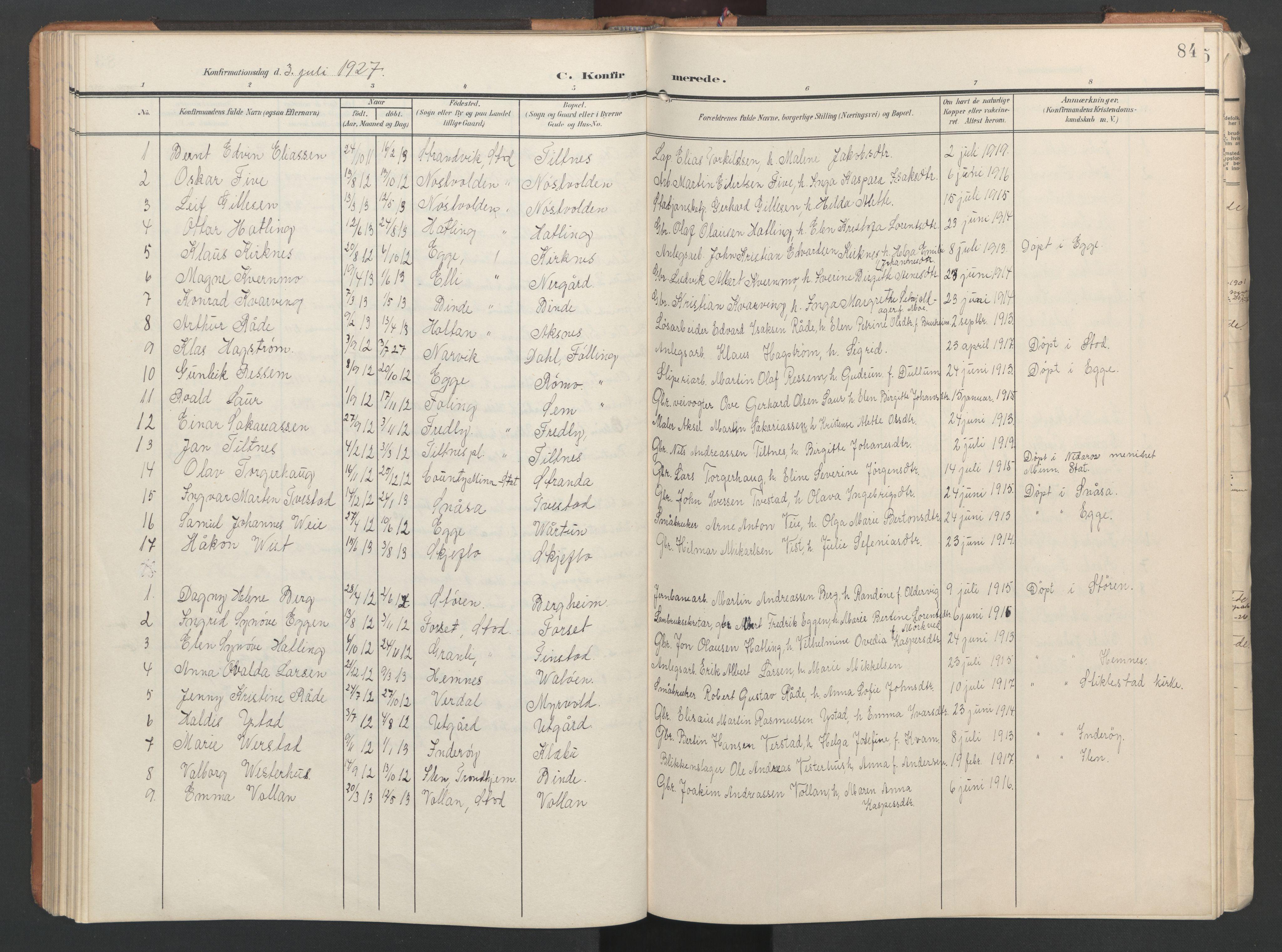 SAT, Ministerialprotokoller, klokkerbøker og fødselsregistre - Nord-Trøndelag, 746/L0455: Klokkerbok nr. 746C01, 1908-1933, s. 84