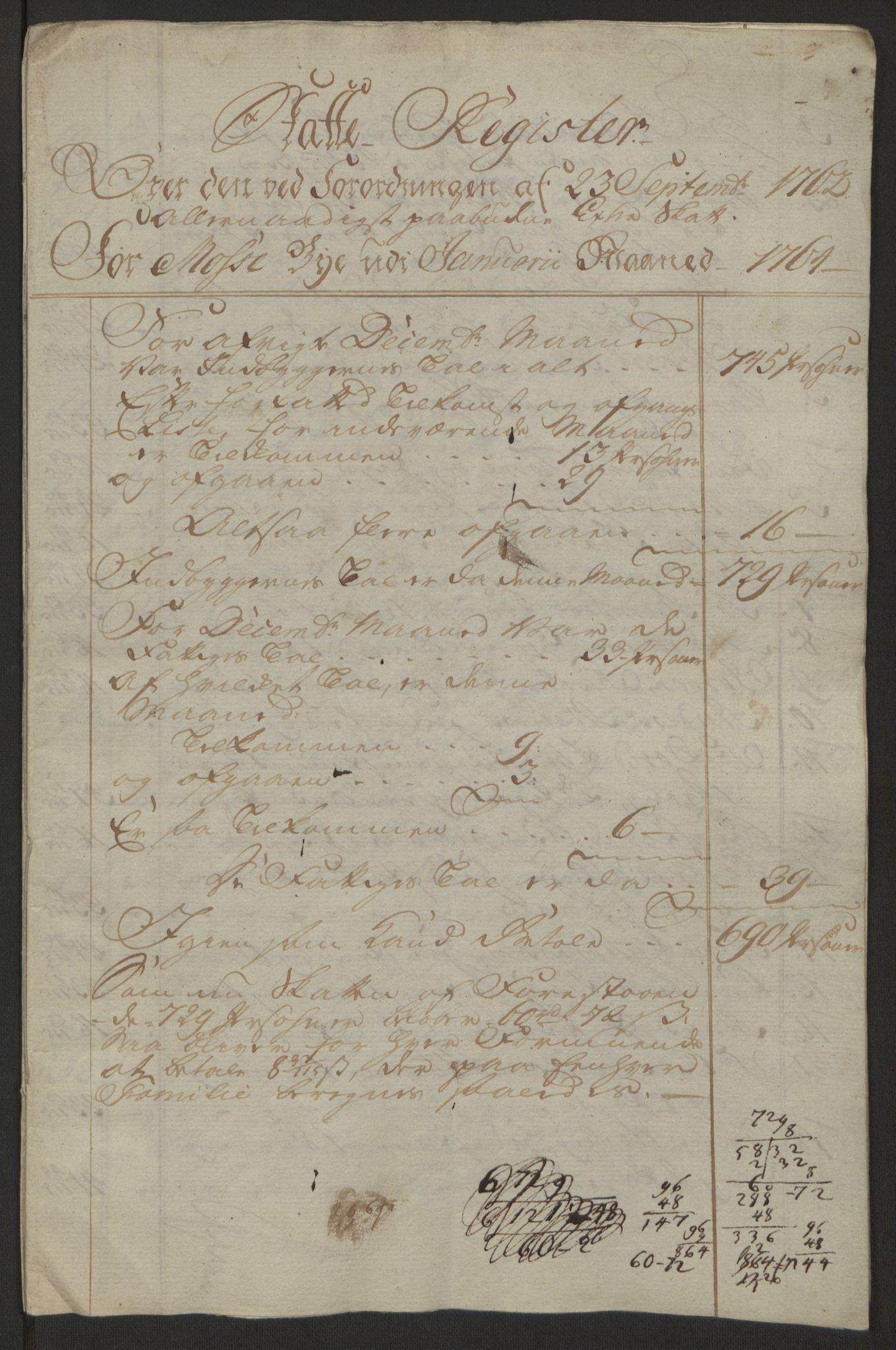 RA, Rentekammeret inntil 1814, Reviderte regnskaper, Byregnskaper, R/Rc/L0042: [C1] Kontribusjonsregnskap, 1762-1765, s. 172
