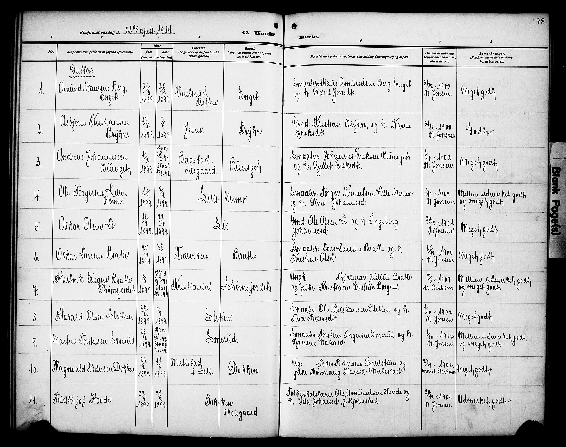 SAH, Øyer prestekontor, Klokkerbok nr. 7, 1913-1928, s. 78