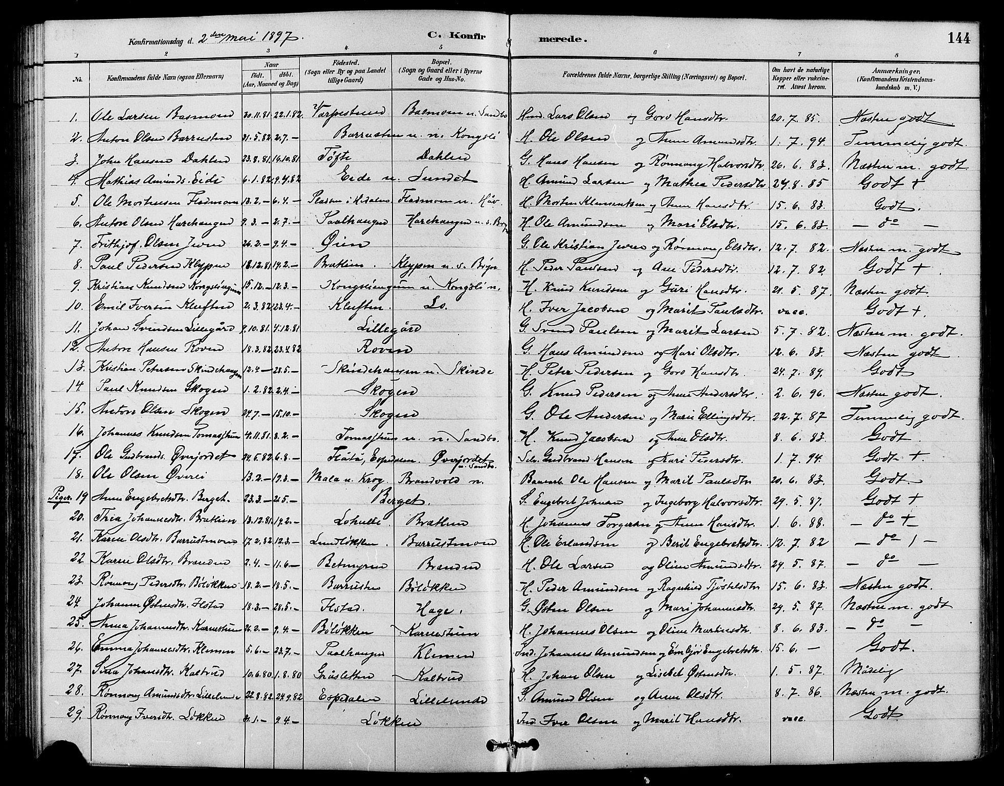 SAH, Nord-Fron prestekontor, Klokkerbok nr. 4, 1884-1914, s. 144