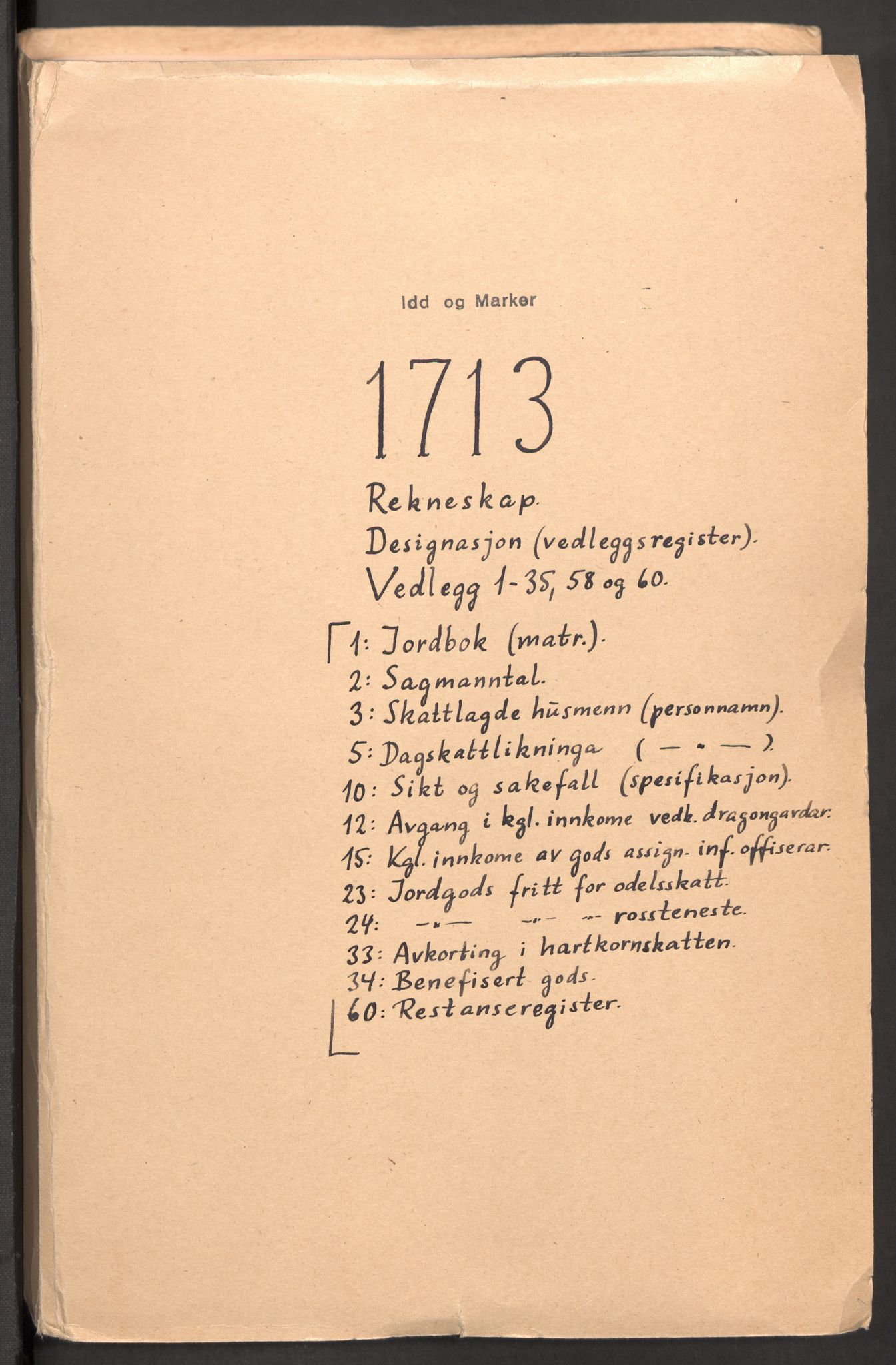 RA, Rentekammeret inntil 1814, Reviderte regnskaper, Fogderegnskap, R01/L0022: Fogderegnskap Idd og Marker, 1713-1714, s. 2