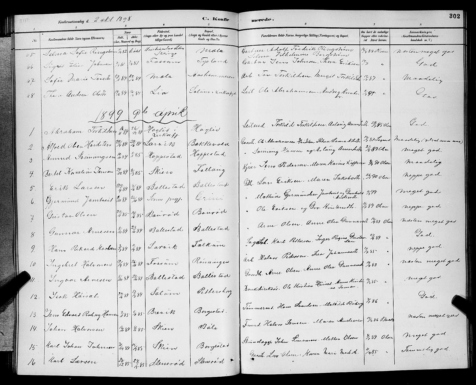 SAKO, Gjerpen kirkebøker, G/Ga/L0002: Klokkerbok nr. I 2, 1883-1900, s. 302