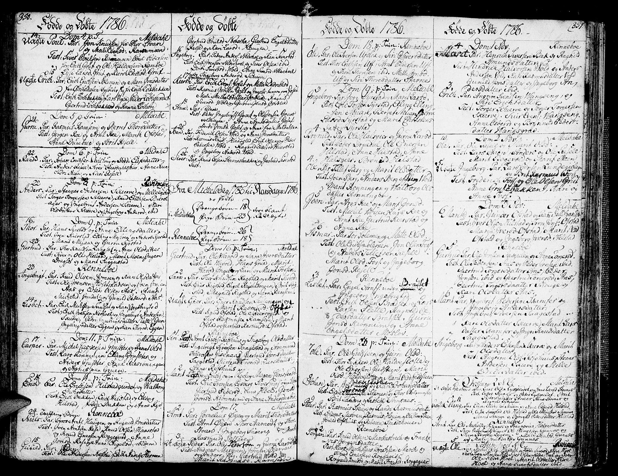SAT, Ministerialprotokoller, klokkerbøker og fødselsregistre - Sør-Trøndelag, 672/L0852: Ministerialbok nr. 672A05, 1776-1815, s. 350-351