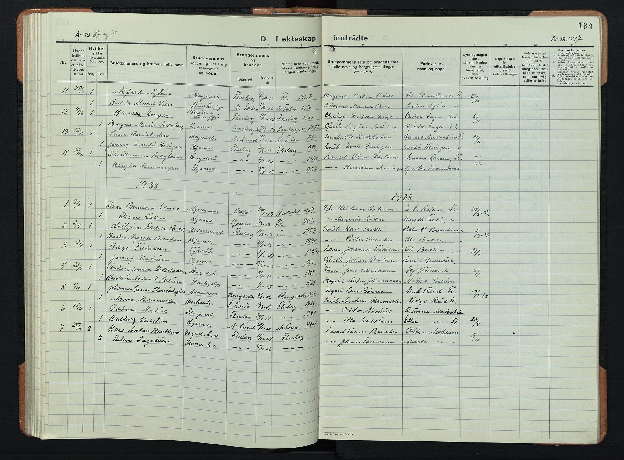 SAH, Søndre Land prestekontor, L/L0008: Klokkerbok nr. 8, 1926-1950, s. 134