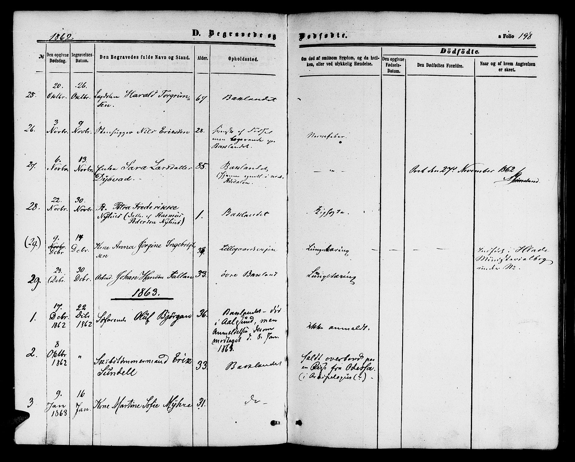 SAT, Ministerialprotokoller, klokkerbøker og fødselsregistre - Sør-Trøndelag, 604/L0185: Ministerialbok nr. 604A06, 1861-1865, s. 198