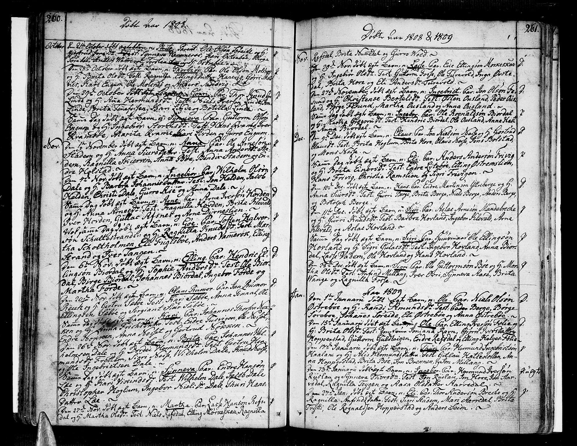 SAB, Vik Sokneprestembete, Ministerialbok nr. A 5, 1787-1820, s. 260-261