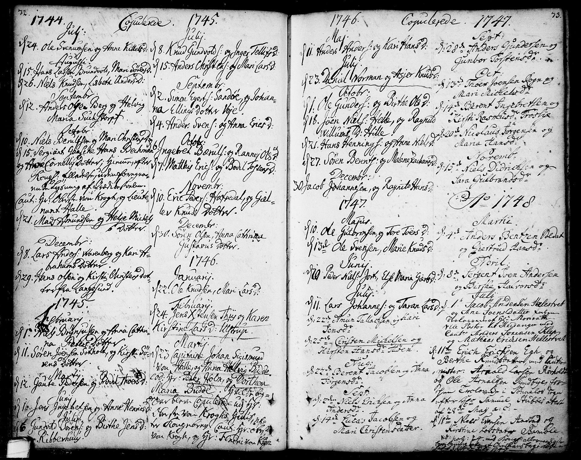 SAKO, Bamble kirkebøker, F/Fa/L0001: Ministerialbok nr. I 1, 1702-1774, s. 72-73