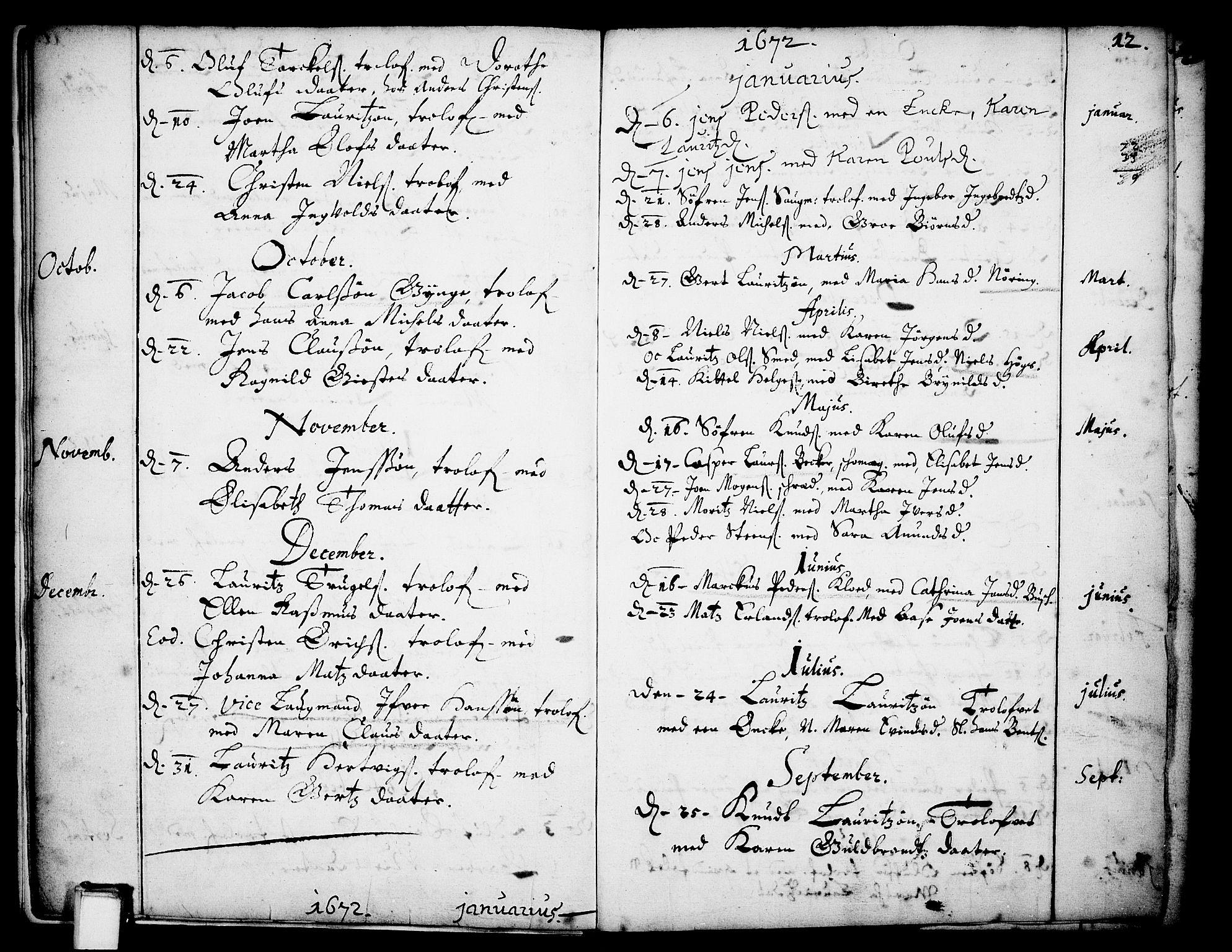 SAKO, Skien kirkebøker, F/Fa/L0001: Ministerialbok nr. 1, 1659-1679, s. 12