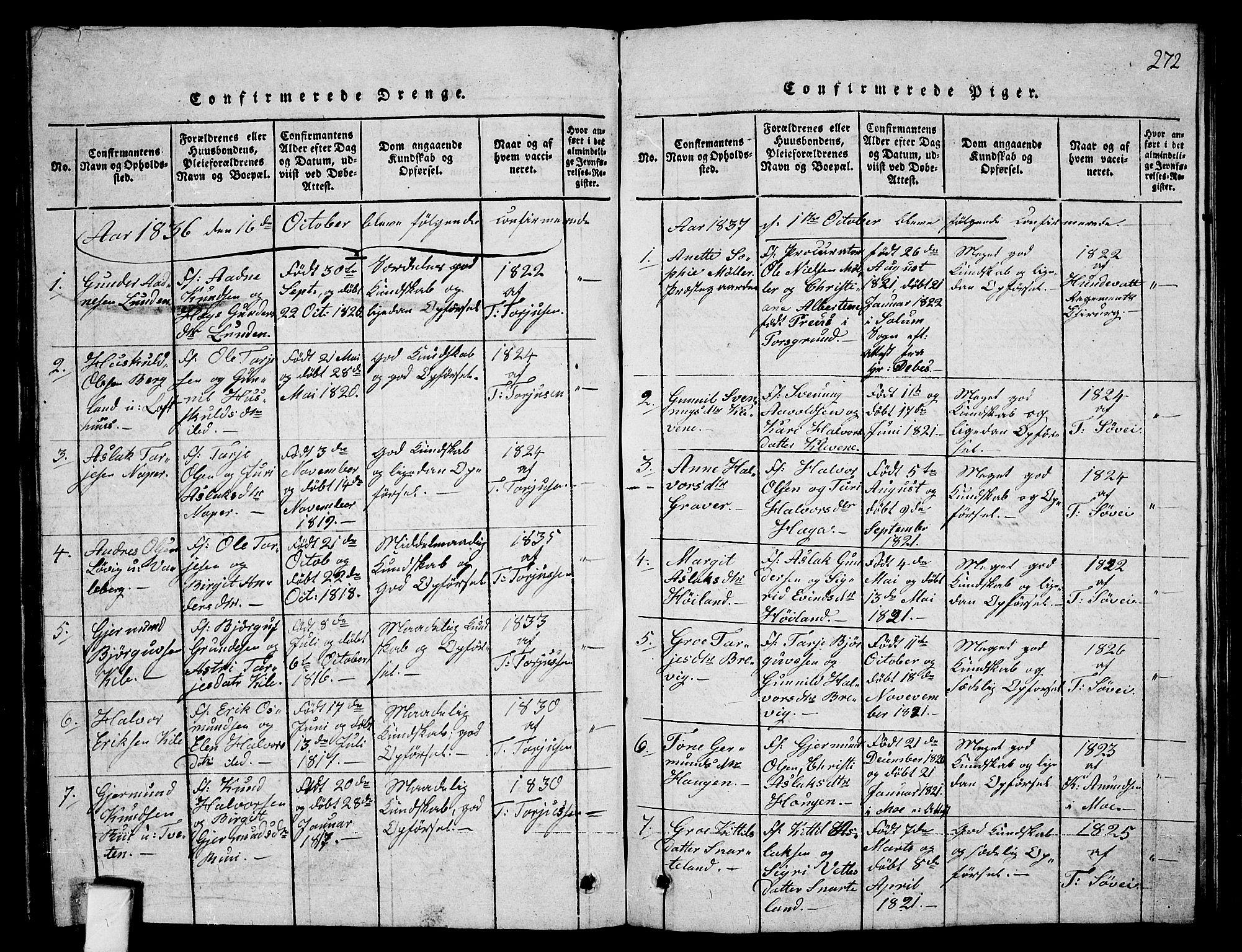 SAKO, Fyresdal kirkebøker, G/Ga/L0001: Klokkerbok nr. I 1, 1816-1840, s. 272