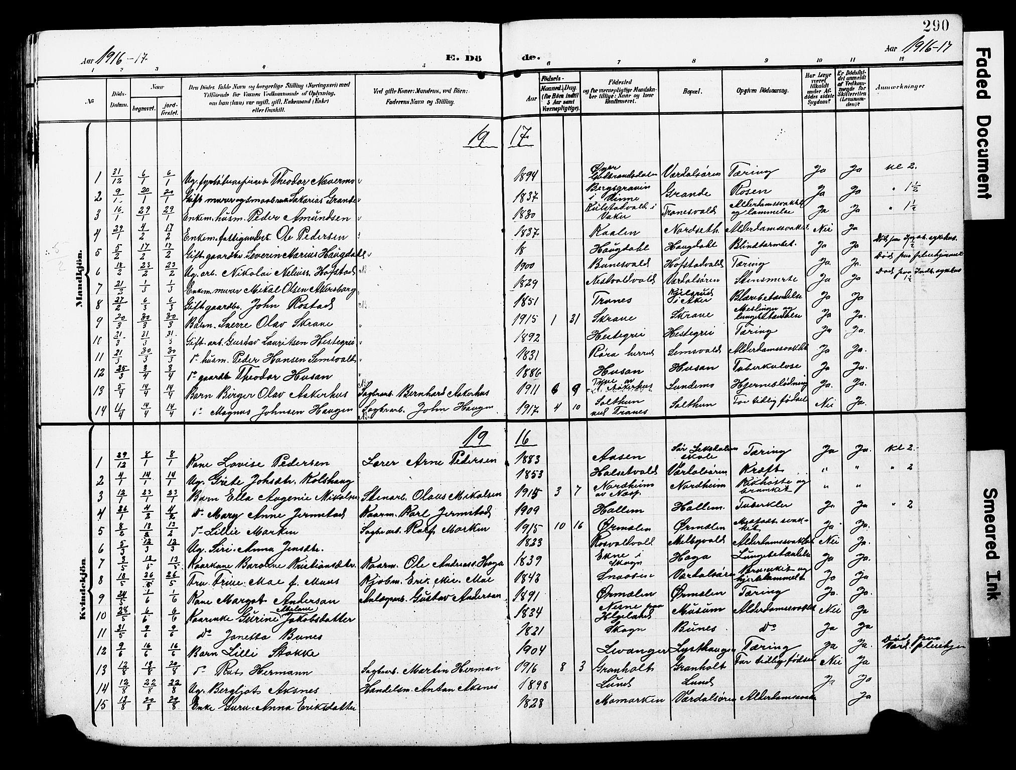 SAT, Ministerialprotokoller, klokkerbøker og fødselsregistre - Nord-Trøndelag, 723/L0258: Klokkerbok nr. 723C06, 1908-1927, s. 290